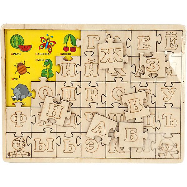 Пазл развивающий Изучаем алфавит, 62 детали, Мастер ВудПазлы для малышей<br>Пазл развивающий Изучаем алфавит, 62 детали, от популярного бренда развивающих детских товаров Мастер Вуд развлечет вашу кроху! Новый, увлекательный формат изучения алфавита понравится малышу. На дне деревянной подставочки расположены картинки подходящие в кой или иной букве, поверх картинок размещаются соответствующие кусочки пазла с буквами. Пазл изготовлен из безопасного для детей материала: дерева, при желании, буквы можно раскрасить. Играя с таким пазлом. Малыш выучит алфавит, разовьет мелкую моторику ручек, разовьет логические навыки.<br><br>Дополнительная информация:<br><br>- В комплект входит: 1 подставка, 62 детали<br>- Материал: дерево, текстиль<br>- Размер: 25 * 1 * 19 см<br>- Размер деталей: 4,5 * 4 см.<br>- Вес: 0,22 кг.<br><br>Пазл развивающий Изучаем алфавит, 62 детали, Мастер Вуд можно купить в нашем интернет-магазине.<br><br>Подробнее:<br>• Для детей в возрасте: от 3 до 6 лет<br>• Номер товара: 4925579<br>Страна производитель: Беларусь<br>Ширина мм: 250; Глубина мм: 10; Высота мм: 190; Вес г: 29; Возраст от месяцев: 36; Возраст до месяцев: 84; Пол: Унисекс; Возраст: Детский; SKU: 4925579;