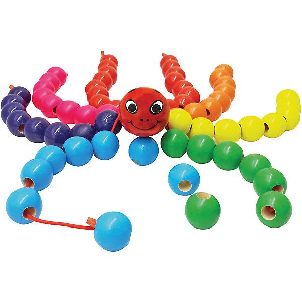 Паук Бусиног, 42 см, MapachaДеревянные игрушки<br>Паук Бусиног, 42 см, от популярного бренда развивающих детских товаров Mapacha (Мапача) придет малышу по вкусу и привнесет разнообразие в привычный арсенал игрушек. Небольшое тельце паука имеет восемь шнурков-ножек, на которые нужно нанизывать бусинки размером в 2 см. чтобы сделать полноценные лапки. Этот паучок изготовлен из экологически чистого и натурального материала – дерева, отлично отшлифован и окрашен в яркие цвета. Шнурки изготовлены из качественного и безопасного текстиля. Ребенок сам может придумывать понравившиеся комбинации цветов и сможет разработать моторику рук, внимание и воображение.<br><br>Дополнительная информация:<br><br>- В комплект входит: паук, бусины<br>- Материал: дерево, текстиль<br>- Размер: 42 см. <br><br>Паука Бусиног, 42 см, Mapacha (Мапача) можно купить в нашем интернет-магазине.<br><br>Подробнее:<br>• Для детей в возрасте: от 12 месяцев до 3 лет<br>• Номер товара: 4925580<br>Страна производитель: Российская Федерация<br>Ширина мм: 160; Глубина мм: 50; Высота мм: 130; Вес г: 108; Возраст от месяцев: 12; Возраст до месяцев: 36; Пол: Унисекс; Возраст: Детский; SKU: 4925580;
