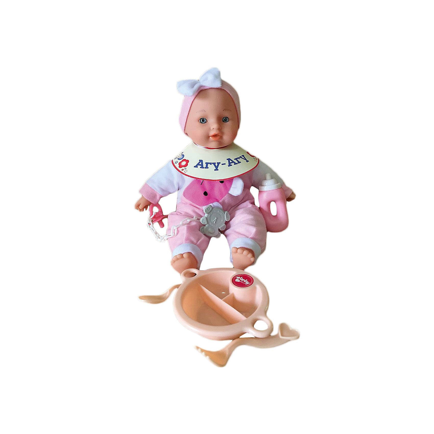 Пупс Милый болтун, 30 см, Mary PoppinsПупс Милый болтун, 30 см от популярного российского бренда кукол и аксессуаров Mary Poppins (Мэри Поппинс). Эта интересная кукла выглядит как настоящий малыш! Более того, в комплекте у этого пупса имеется все необходимое – бутылочка для кормления, детская тарелочка с возможностью разделения на три блюда, оригинальные ложка и вилка, интересный картонный нагрудник – теперь пупс полностью готов к приему пищи. Также в комплекте пустышка и клипса на прищепке, чтобы пупс не выронил ее во время прогулки. Кукла одета в красивый розово-белый комбинезон, а на голове малышки стильная розовая повязка с нежным белым бантом. Тело мягконабивное, что безопасно и приятно на ощупь. Если нажать на животик куклы, то она будет смеяться или плакать, сможет сказать мама и папа. Нейтральное выражения лица пупса поможет ребенку придумать множество своих сценариев и чувств куклы, закладывая фундамент социальных навыков и социального развития. Играя с куклами дети познают человека, как с физиологической, так и с стороны общения между людьми, развивается моторика рук, внимание, воображение, такие игры положительно влияют на психологическое развитие. <br><br>Дополнительная информация:<br><br>- В комплект входит: 1 кукла в одежде, тарелка, ложка и вилка, бутылочка, пустышка и клипса, нагрудник.<br>- Материал: ПВХ, текстиль, пластик <br>- Размер пупса: 30 см<br>- Размер в сидячем положении: 14 * 13 * 20 см.<br>- Вес: 0,38 кг.<br><br>Пупса Милый болтун, 30 см, Mary Poppins (Мэри Поппинс) можно купить в нашем интернет-магазине.<br><br>Подробнее:<br>• Для детей в возрасте: от 3 до 10 лет<br>• Номер товара: 4925585<br>Страна производитель: Китай<br><br>Ширина мм: 170<br>Глубина мм: 140<br>Высота мм: 200<br>Вес г: 948<br>Возраст от месяцев: 36<br>Возраст до месяцев: 120<br>Пол: Женский<br>Возраст: Детский<br>SKU: 4925585