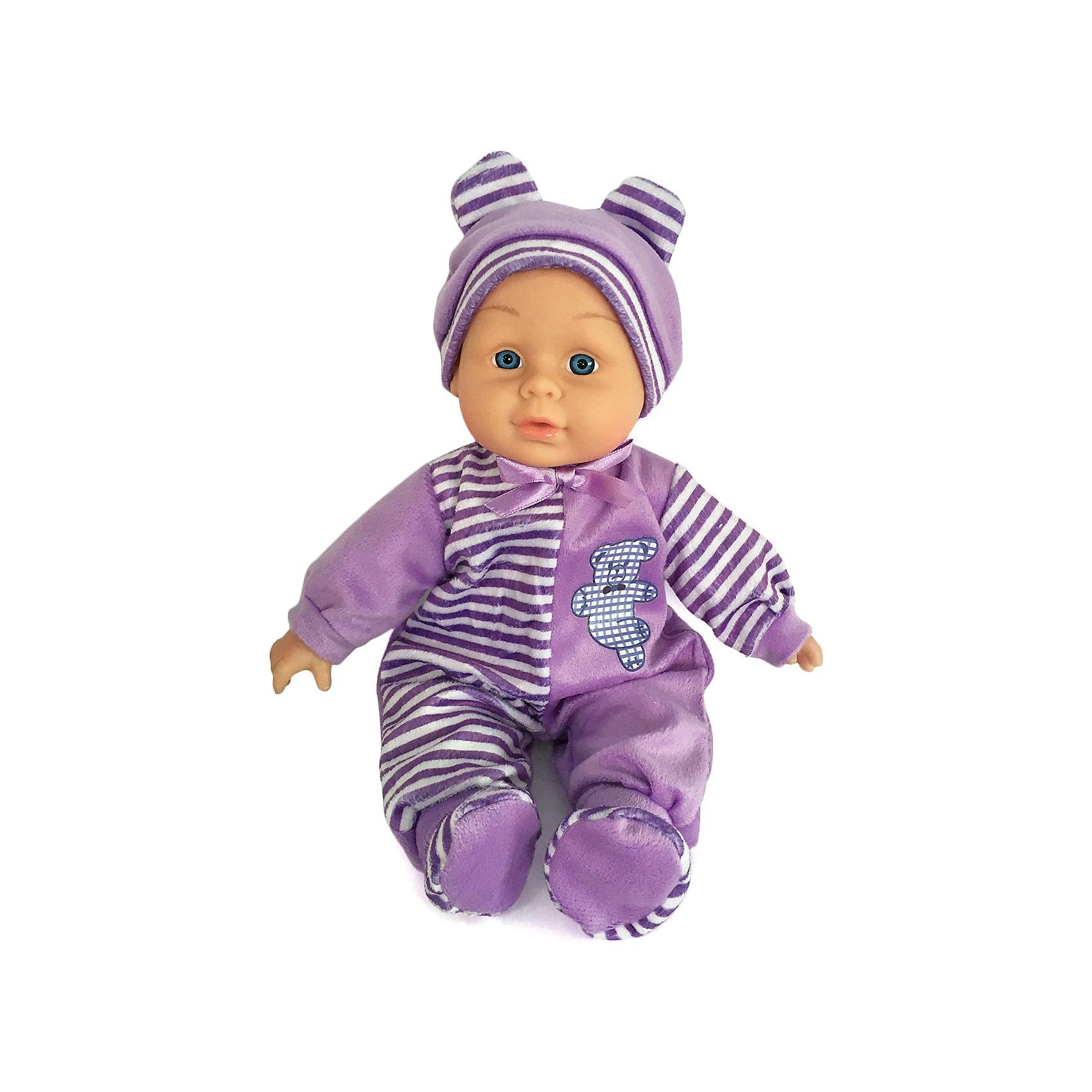 Пупс мягкий 30 см Мой малыш, Shantou GepaiКуклы-пупсы<br>Пупс мягкий 30 см Мой малыш, Shantou Gepai - это интересная кукла выглядит как настоящий малыш! Кукла одета в красивый фиолетово-белый зимний костюмчик, а на голове малышки стильная сиреневая шапочка. Тело мягконабивное, что безопасно и приятно на ощупь. Если нажать на животик куклы, то она будет смеяться или плакать, сможет сказать мама и папа. Нейтральное выражения лица пупса поможет ребенку придумать множество своих сценариев и чувств куклы, закладывая фундамент социальных навыков и социального развития. Играя с куклами дети познают человека, как с физиологической, так и с стороны общения между людьми, развивается моторика рук, внимание, воображение, такие игры положительно влияют на психологическое развитие. <br><br>Дополнительная информация:<br><br>- В комплект входит: 1 кукла в одежде<br>- Материал: текстиль, пластик <br>- Размер пупса: 30 см<br><br>Пупса мягкого 30 см Мой малыш, Shantou Gepai можно купить в нашем интернет-магазине.<br><br>Подробнее:<br>• Для детей в возрасте: от 2 до 6 лет<br>• Номер товара: 4925588<br>Страна производитель: Китай<br><br>Ширина мм: 200<br>Глубина мм: 100<br>Высота мм: 370<br>Вес г: 729<br>Возраст от месяцев: 36<br>Возраст до месяцев: 120<br>Пол: Женский<br>Возраст: Детский<br>SKU: 4925588