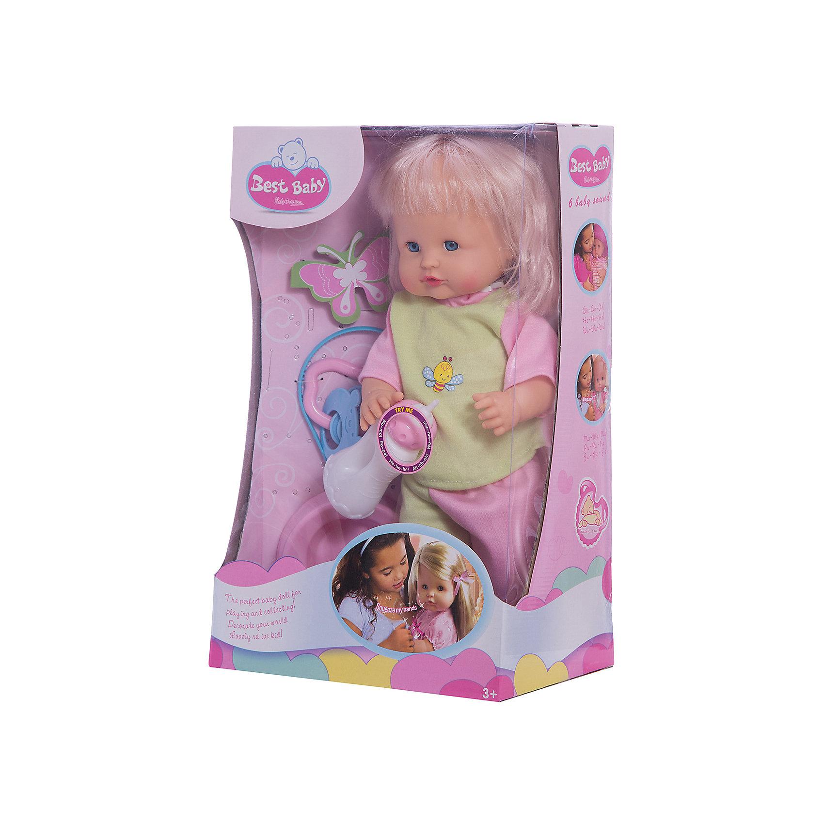 Пупс Сесилия 40 см, озвученный, Shantou GepaiПупс Сесилия 40 см, озвученный, Shantou Gepai - эта интересная кукла выглядит как настоящая маленькая девочка! Более того, в комплекте у этого пупса имеется все необходимые аксессуары по уходу – бутылочка для кормления, горшок, погремушка. Малышка одета в зелено-розовые штанишки и яркую кофточку в тон. Эта кукла умеет говорить, если нажать на ее ручку, она говорит мама, папа и другие слова. Нейтральное выражения лица пупса поможет ребенку придумать множество своих сценариев и чувств куклы, закладывая фундамент социальных навыков и социального развития. Играя с куклами дети познают человека, как с физиологической, так и с стороны общения между людьми, развивается моторика рук, внимание, воображение, такие игры положительно влияют на психологическое развитие. <br><br>Дополнительная информация:<br><br>- В комплект входит: 1 кукла в одежде, бутылочка, горшок, погремушка<br>- Материал: ПВХ, текстиль, пластик <br>- Размер куклы: 40 см<br><br>Пупса Сесилия 40 см, озвученного, Shantou Gepai можно купить в нашем интернет-магазине.<br><br>Подробнее:<br>• Для детей в возрасте: от 3 до 10 лет<br>• Номер товара: 4925590<br>Страна производитель: Китай<br><br>Ширина мм: 250<br>Глубина мм: 150<br>Высота мм: 380<br>Вес г: 4519<br>Возраст от месяцев: 36<br>Возраст до месяцев: 120<br>Пол: Женский<br>Возраст: Детский<br>SKU: 4925590