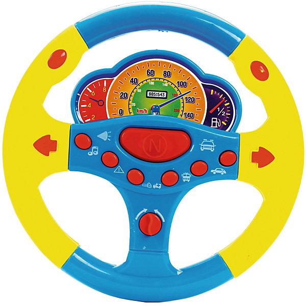 Руль музыкальный Веселые гонки, со светом и звуком, Shantou GepaiИнтерактивные игрушки для малышей<br>Руль музыкальный Веселые гонки, со светом и звуком, Shantou Gepai – это веселый многофункциональный руль с которым так весело играть и развиваться! Руль оснащен приборной панелью с датчиками топлива, спидометром и тахометром. У Руля в арсенале имеются забавные фразы с рекомендациями повернуть направо, налево, включить радио или не отвлекаться в дороге. Стильный дизайн руля как у гоночной машины придет по вкусу маленькому водителю, а функции игрового руля помогут развить моторику рук, память, внимание и воображение.<br>Дополнительная информация:<br><br>- В комплект входит: 1 руль<br>- Материал: АБС пластик<br>- Необходимы три батарейки типа АА (не входят в комплект)<br>- Размер: 21,5 * 20 * 3 см.<br><br>Руль музыкальный Веселые гонки, со светом и звуком, Shantou Gepai можно купить в нашем интернет-магазине.<br><br>Подробнее:<br>• Для детей в возрасте: от 3 до 6 лет<br>• Номер товара: 4925597<br>Страна производитель: Китай<br>Ширина мм: 210; Глубина мм: 20; Высота мм: 260; Вес г: 93; Возраст от месяцев: 36; Возраст до месяцев: 72; Пол: Унисекс; Возраст: Детский; SKU: 4925597;