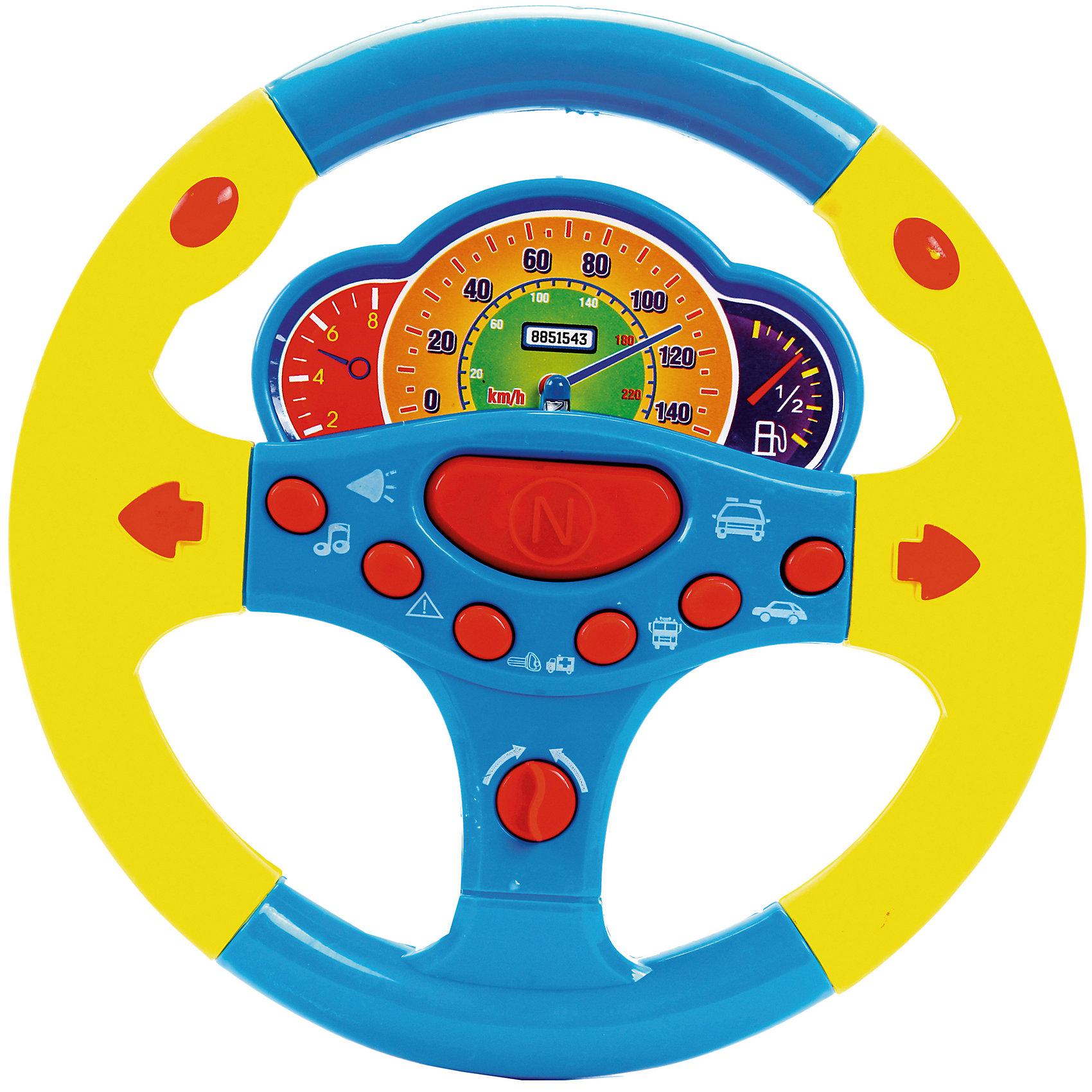 Руль музыкальный Веселые гонки, со светом и звуком, Shantou GepaiИнтерактивные игрушки для малышей<br>Руль музыкальный Веселые гонки, со светом и звуком, Shantou Gepai – это веселый многофункциональный руль с которым так весело играть и развиваться! Руль оснащен приборной панелью с датчиками топлива, спидометром и тахометром. У Руля в арсенале имеются забавные фразы с рекомендациями повернуть направо, налево, включить радио или не отвлекаться в дороге. Стильный дизайн руля как у гоночной машины придет по вкусу маленькому водителю, а функции игрового руля помогут развить моторику рук, память, внимание и воображение.<br>Дополнительная информация:<br><br>- В комплект входит: 1 руль<br>- Материал: АБС пластик<br>- Необходимы три батарейки типа АА (не входят в комплект)<br>- Размер: 21,5 * 20 * 3 см.<br><br>Руль музыкальный Веселые гонки, со светом и звуком, Shantou Gepai можно купить в нашем интернет-магазине.<br><br>Подробнее:<br>• Для детей в возрасте: от 3 до 6 лет<br>• Номер товара: 4925597<br>Страна производитель: Китай<br><br>Ширина мм: 210<br>Глубина мм: 20<br>Высота мм: 260<br>Вес г: 93<br>Возраст от месяцев: 36<br>Возраст до месяцев: 72<br>Пол: Унисекс<br>Возраст: Детский<br>SKU: 4925597