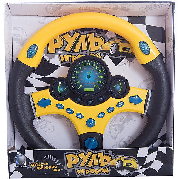 Руль, 27 см, с подсветкой и звуком, Shantou GepaiИнтерактивные игрушки для малышей<br>Руль, 27 см, с подсветкой и звуком, Shantou Gepai – это веселый многофункциональный руль с которым так весело играть и развиваться! Руль оснащен приборной панелью с датчиками топлива, спидометром и тахометром. У Руля в арсенале имеются разные звуки: зажигания, тормоза, клаксона, а при их нажатии загораются световые сигналы. Стильный дизайн руля как у гоночной машины придет по вкусу маленькому водителю, а функции игрового руля помогут развить моторику рук, память, внимание и воображение.<br>Дополнительная информация:<br><br>- В комплект входит: 1 руль<br>- Материал: пластик<br>- Необходимы три батарейки типа АА (не входят в комплект)<br>- Диаметр: 27 см.<br><br>Руль, 27 см, с подсветкой и звуком, Shantou Gepai можно купить в нашем интернет-магазине.<br><br>Подробнее:<br>• Для детей в возрасте: от 3 до 6 лет<br>• Номер товара: 4925599<br>Страна производитель: Китай<br><br>Ширина мм: 260<br>Глубина мм: 40<br>Высота мм: 270<br>Вес г: 9213<br>Возраст от месяцев: 36<br>Возраст до месяцев: 72<br>Пол: Унисекс<br>Возраст: Детский<br>SKU: 4925599