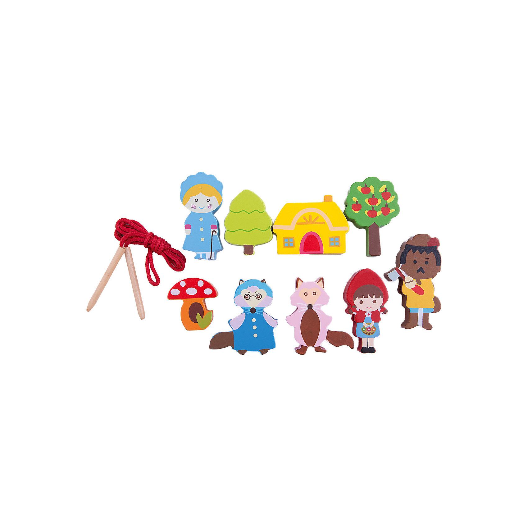 Шнуровка - бусы Красная шапочка, MapachaШнуровка - бусы Красная шапочка от популярного бренда развивающих детских товаров Mapacha (Мапача) развлечет вашего ребенка. Девять ярких фигурок-бусинок по мотивам сказки красная шапочка придет по вкусу вашему малышу и позволит придумать множество комбинаций нанизывания и разных историй связанных с героями сказки. В набор входят удобные большие деревянные иглы, с помощью которых ребенку удобно нанизывать бусины. Этот набор изготовлен из экологически чистого и натурального материала – дерева, отлично отшлифован и окрашен в яркие цвета. Все герои раскрашены безопасными красками. С помощью шнуровки малыш сможет развить логику, разработать моторику рук, внимание и воображение.<br><br>Дополнительная информация:<br><br>- В комплект входит: 9 фигурок, 1 шнурок с деревянными иглами<br>- Материал: дерево, текстиль<br>- Размер упаковки: 14 * 2 *23 см<br><br>Шнуровку - бусы Красная шапочка, Mapacha (Мапача) можно купить в нашем интернет-магазине.<br><br>Подробнее:<br>• Для детей в возрасте: от 3 до 7 лет<br>• Номер товара: 4925606<br>Страна производитель: Китай<br><br>Ширина мм: 140<br>Глубина мм: 20<br>Высота мм: 230<br>Вес г: 104<br>Возраст от месяцев: 36<br>Возраст до месяцев: 84<br>Пол: Унисекс<br>Возраст: Детский<br>SKU: 4925606