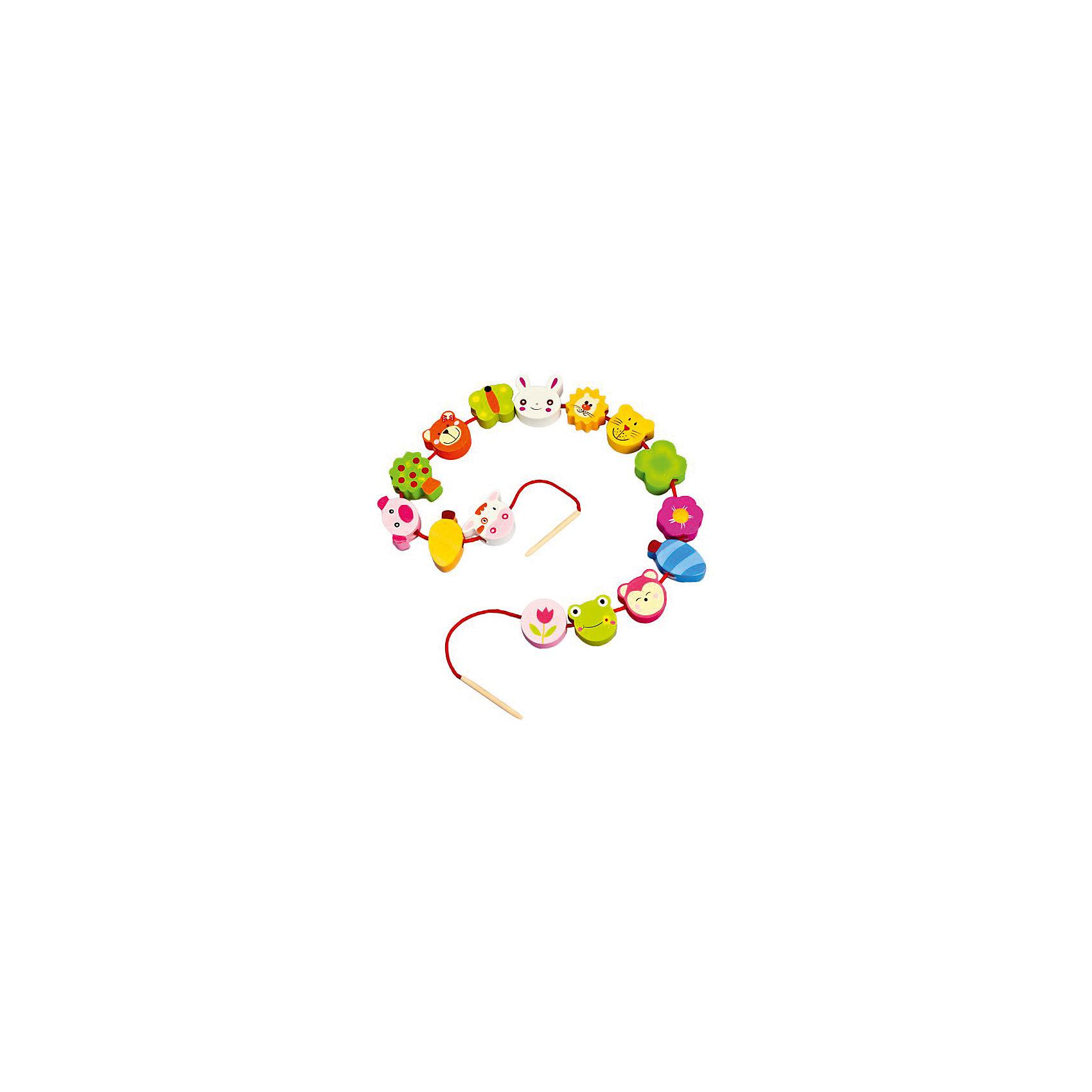 Шнуровка - бусы Звери, MapachaШнуровки<br>Шнуровка - бусы Звери от популярного бренда развивающих детских товаров Mapacha (Мапача) развлечет вашего ребенка. Пятнадцать ярких фигурок-бусинок с животными и растениями придут по вкусу вашему малышу и позволят придумать множество комбинаций нанизывания и разных историй связанных с животными и растениями. В набор входят удобные большие деревянные иглы, с помощью которых ребенку удобно нанизывать бусины. Этот набор изготовлен из экологически чистого и натурального материала – дерева, отлично отшлифован и окрашен в яркие цвета. Все фигурки раскрашены безопасными красками. С помощью шнуровки малыш сможет развить логику, разработать моторику рук, внимание и воображение.<br><br>Дополнительная информация:<br><br>- В комплект входит: 15 фигурок, 1 шнурок с деревянными иглами<br>- Материал: дерево, текстиль<br>- Размер бусин: 3-4 см.<br>- Размер шнурка: 80 см.<br>- Вес: 0,2 кг.<br><br>Шнуровку - бусы  Звери, Mapacha (Мапача) можно купить в нашем интернет-магазине.<br><br>Подробнее:<br>• Для детей в возрасте: от 3 до 7 лет<br>• Номер товара: 4925607<br>Страна производитель: Китай<br><br>Ширина мм: 160<br>Глубина мм: 60<br>Высота мм: 240<br>Вес г: 15<br>Возраст от месяцев: 36<br>Возраст до месяцев: 84<br>Пол: Унисекс<br>Возраст: Детский<br>SKU: 4925607