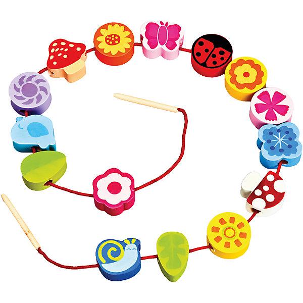 Шнуровка - бусы Цветы, MapachaШнуровки<br>Шнуровка - бусы Цветы от популярного бренда развивающих детских товаров Mapacha (Мапача) развлечет вашего ребенка. Пятнадцать ярких фигурок-бусинок с цветами, листиками и жучками придут по вкусу вашему малышу и позволят придумать множество комбинаций нанизывания и разных историй связанных с цветами и садом. В набор входят удобные большие деревянные иглы, с помощью которых ребенку удобно нанизывать бусины. Этот набор изготовлен из экологически чистого и натурального материала – дерева, отлично отшлифован и окрашен в яркие цвета. Все фигурки раскрашены безопасными красками. С помощью шнуровки малыш сможет развить логику, разработать моторику рук, внимание и воображение.<br><br>Дополнительная информация:<br><br>- В комплект входит: 15 фигурок, 1 шнурок с деревянными иглами<br>- Материал: дерево, текстиль<br>- Размер бусин: 3-4 см.<br>- Вес: 0,1 кг.<br><br>Шнуровку - бусы Цветы, Mapacha (Мапача) можно купить в нашем интернет-магазине.<br><br>Подробнее:<br>• Для детей в возрасте: от 3 до 7 лет<br>• Номер товара: 4925610<br>Страна производитель: Китай<br><br>Ширина мм: 160<br>Глубина мм: 50<br>Высота мм: 220<br>Вес г: 15<br>Возраст от месяцев: 36<br>Возраст до месяцев: 84<br>Пол: Унисекс<br>Возраст: Детский<br>SKU: 4925610
