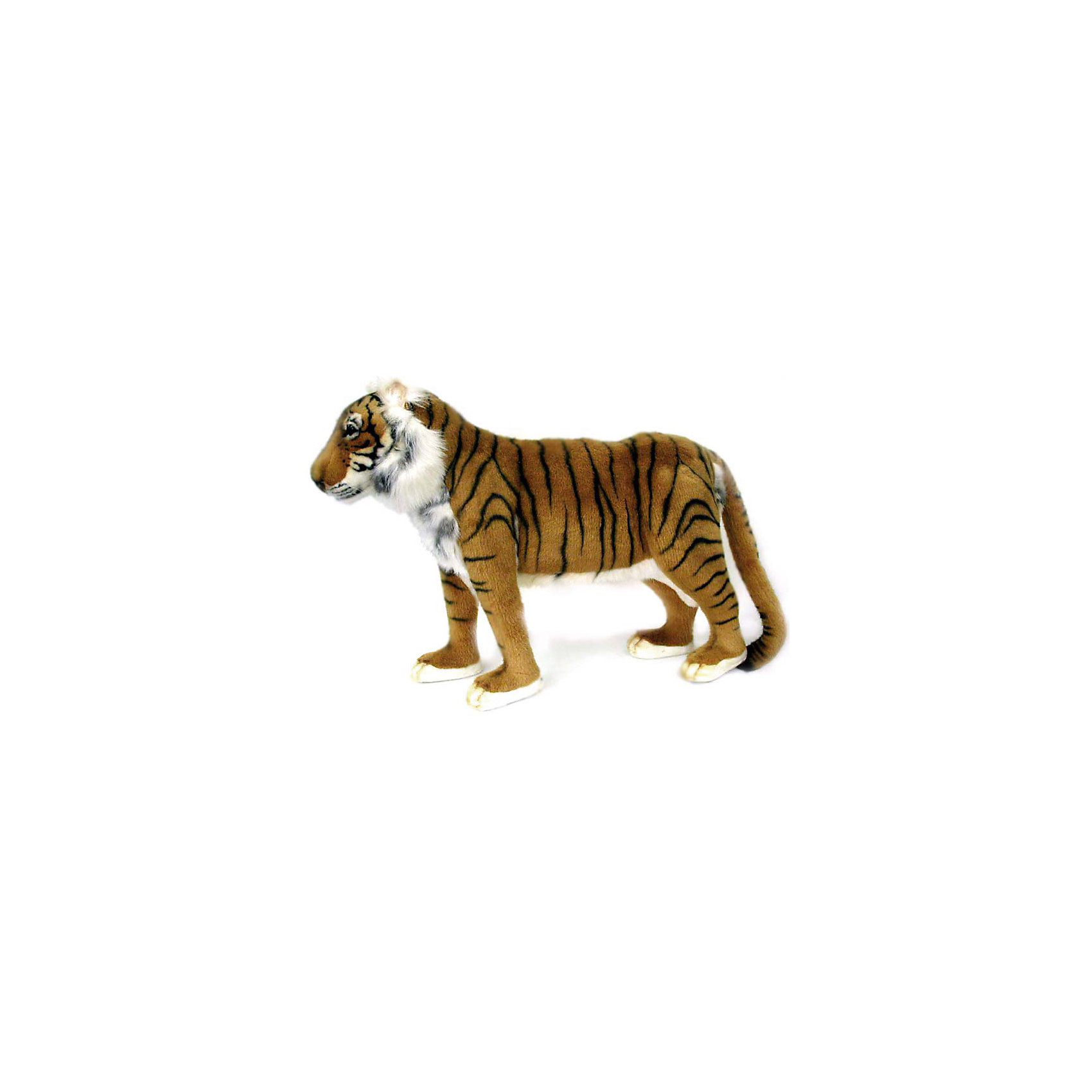Тигр , 60 смТигр, 60 см – игрушка от знаменитого бренда Hansa, специализирующегося на выпуске мягких игрушек с высокой степенью натуралистичности. Внешний вид игрушки полностью соответствует реальному прототипу –  тигру. Он выполнен из искусственного меха с коротким ворсом. Окрас меха выполнен в рыжих и коричневых оттенках в черную полоску. Внутри имеется металлический каркас, который позволяет изменять положение. <br>Игрушка относится к серии Дикие животные. Выполнена из искусственного меха, обладающего гипоаллергенными свойствами.   <br>Мягкие игрушки от Hansa подходят для сюжетно-ролевых игр, для обучающих игр, направленных на знакомство с животным миром дикой природы. Кроме того, их можно использовать в качестве интерьерных игрушек. Коллекция из нескольких игрушек позволяет создать свой домашний зоопарк, который будет радовать вашего ребенка долгое время, так как ручная работа и качественные материалы гарантируют их долговечность и прочность.<br><br>Дополнительная информация:<br><br>- Вид игр: сюжетно-ролевые игры, коллекционирование, интерьерные игрушки<br>- Предназначение: для дома, для детских развивающих центров, для детских садов<br>- Материал: искусственный мех, наполнитель ? полиэфирное волокно<br>- Размер (ДхШхВ): 55*45*20 см<br>- Вес: 1 кг 050 г<br>- Особенности ухода: сухая чистка при помощи пылесоса или щетки для одежды<br><br>Подробнее:<br><br>• Для детей в возрасте: от 3 лет <br>• Страна производитель: Филиппины<br>• Торговый бренд: Hansa<br><br>Тигра, 60 см можно купить в нашем интернет-магазине.<br><br>Ширина мм: 55<br>Глубина мм: 45<br>Высота мм: 20<br>Вес г: 1050<br>Возраст от месяцев: 36<br>Возраст до месяцев: 2147483647<br>Пол: Унисекс<br>Возраст: Детский<br>SKU: 4927162