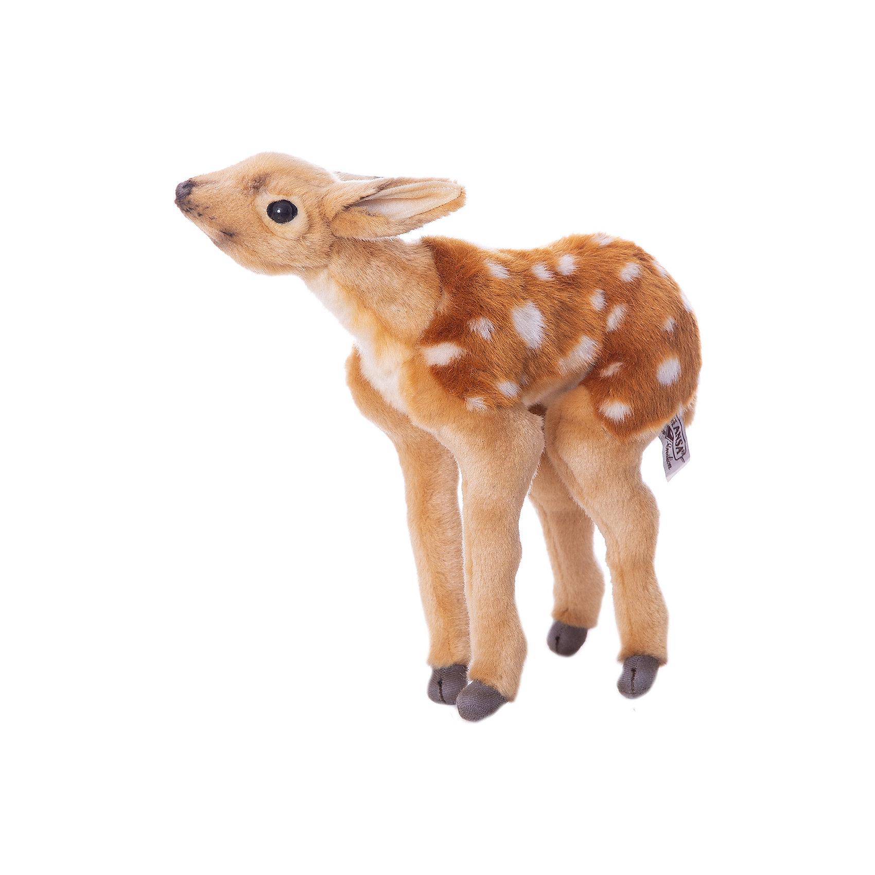 Олененок Бэмби, 30 смЗвери и птицы<br>Олененок Бэмби, 30 см – игрушка от знаменитого бренда Hansa, специализирующегося на выпуске мягких игрушек с высокой степенью натуралистичности. Внешний вид игрушки полностью соответствует своему реальному прототипу – пятнистому оленю. Он выполнен из искусственного меха с коротким ворсом. Окрас игрушки полностью повторяет окраску настоящего животного: красно-рыжая шерстка с белыми пятнышками. Использованные материалы обладают гипоаллергенными свойствами. Внутри игрушки имеется металлический каркас, позволяющий изменять положение. <br>Игрушка относится к серии Дикие животные. <br>Мягкие игрушки от Hansa подходят для сюжетно-ролевых игр, для обучающих игр, направленных на знакомство с животным миром дикой природы. Кроме того, их можно использовать в качестве интерьерных игрушек. Коллекция из нескольких игрушек позволяет создать свой домашний зоопарк, который будет радовать вашего ребенка долгое время, так как ручная работа и качественные материалы гарантируют их долговечность и прочность.<br><br>Дополнительная информация:<br><br>- Вид игр: сюжетно-ролевые игры, коллекционирование, интерьерные игрушки<br>- Предназначение: для дома, для детских развивающих центров, для детских садов<br>- Материал: искусственный мех, наполнитель ? полиэфирное волокно<br>- Размер (ДхШхВ): 30*30*12 см<br>- Вес: 615 г<br>- Особенности ухода: сухая чистка при помощи пылесоса или щетки для одежды<br><br>Подробнее:<br><br>• Для детей в возрасте: от 3 лет <br>• Страна производитель: Филиппины<br>• Торговый бренд: Hansa<br><br>Олененка Бэмби, 30 см можно купить в нашем интернет-магазине.<br><br>Ширина мм: 30<br>Глубина мм: 30<br>Высота мм: 12<br>Вес г: 615<br>Возраст от месяцев: 36<br>Возраст до месяцев: 2147483647<br>Пол: Унисекс<br>Возраст: Детский<br>SKU: 4927201