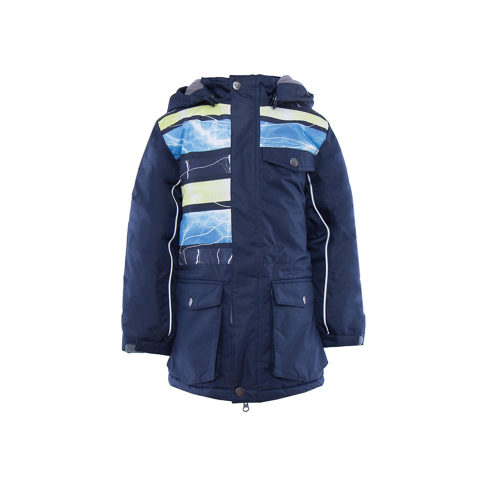 Куртка   для мальчика HuppaЗимние куртки<br>Стильная куртка AMIKA Huppa(Хуппа).<br><br>Утеплитель: 100% полиэстер, 300 гр.<br><br>Температурный режим: до -30 градусов. Степень утепления – высокая. <br><br>* Температурный режим указан приблизительно — необходимо, прежде всего, ориентироваться на ощущения ребенка. Температурный режим работает в случае соблюдения правила многослойности – использования флисовой поддевы и термобелья.<br><br>Изготовлена из  качественных прочных материалов. Благодаря специальной мембране, холодный воздух и вода не проникнут под одежду, а лишняя влага, выделяемая телом, не задержится под одеждой. Швы куртки проклеены водоустойчивой лентой. Резинки на талии и манжетах препятствуют попаданию снега. Куртка имеет 3 кармана на кнопках, удобный капюшон и светоотражающие полоски. В этой куртке прогулки пройдут в тепле и сухости!<br><br>Дополнительная информация:<br>Материал: 100% полиэстер<br>Подкладка: тафта, pritex - 100% полиэстер<br>Цвет: темно-синий <br><br>Вы можете приобрести куртку AMIKA Huppa(Хуппа) в нашем интернет-магазине.<br><br>Ширина мм: 356<br>Глубина мм: 10<br>Высота мм: 245<br>Вес г: 519<br>Цвет: синий<br>Возраст от месяцев: 48<br>Возраст до месяцев: 60<br>Пол: Мужской<br>Возраст: Детский<br>Размер: 110,164,158,152,146,140,134,128,122,116<br>SKU: 4928107