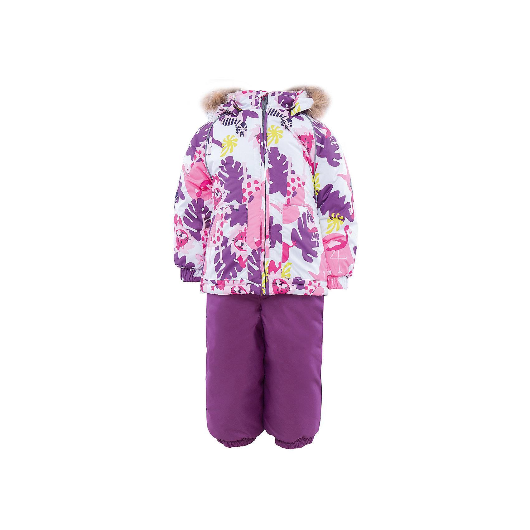 Комплект: куртка и полукомбинезон HuppaКомплект из куртки и комбинезона AVERY Huppa(Хуппа).<br><br>Утеплитель: 100% полиэстер. Куртка – 300 гр., полукомбинезон – 160 гр.<br><br>Температурный режим: до -30 градусов. Степень утепления – высокая. <br><br>* Температурный режим указан приблизительно — необходимо, прежде всего, ориентироваться на ощущения ребенка. Температурный режим работает в случае соблюдения правила многослойности – использования флисовой поддевы и термобелья.<br><br>Отлично подойдет для зимних прогулок. Комбинезон имеет подтяжки и резинки на талии и манжетах. Куртка с капюшоном и резинками на манжетах имеет необычный дизайн и принт со зверюшками.<br><br>Особенности:<br>-плотная дышащая и водоотталкивающая мембрана<br>-водонепроницаемый<br>-мягкая фланелевая подкладка<br>-водостойкая лента на швах<br>-высокая прочность<br>-светоотражающие элементы<br>-съемный каюшон с отстегивающимся мехом<br>-шаговый шов проклеен<br><br>Дополнительная информация:<br>Материал: 100% полиэстер<br>Подкладка: фланель - 100% хлопок<br>Цвет: лиловый/белый<br><br>Вы можете приобрести комплект AVERY Huppa(Хуппа) в нашем интернет-магазине.<br><br>Ширина мм: 356<br>Глубина мм: 10<br>Высота мм: 245<br>Вес г: 519<br>Цвет: белый<br>Возраст от месяцев: 12<br>Возраст до месяцев: 15<br>Пол: Женский<br>Возраст: Детский<br>Размер: 80,104,86,92,98<br>SKU: 4928768