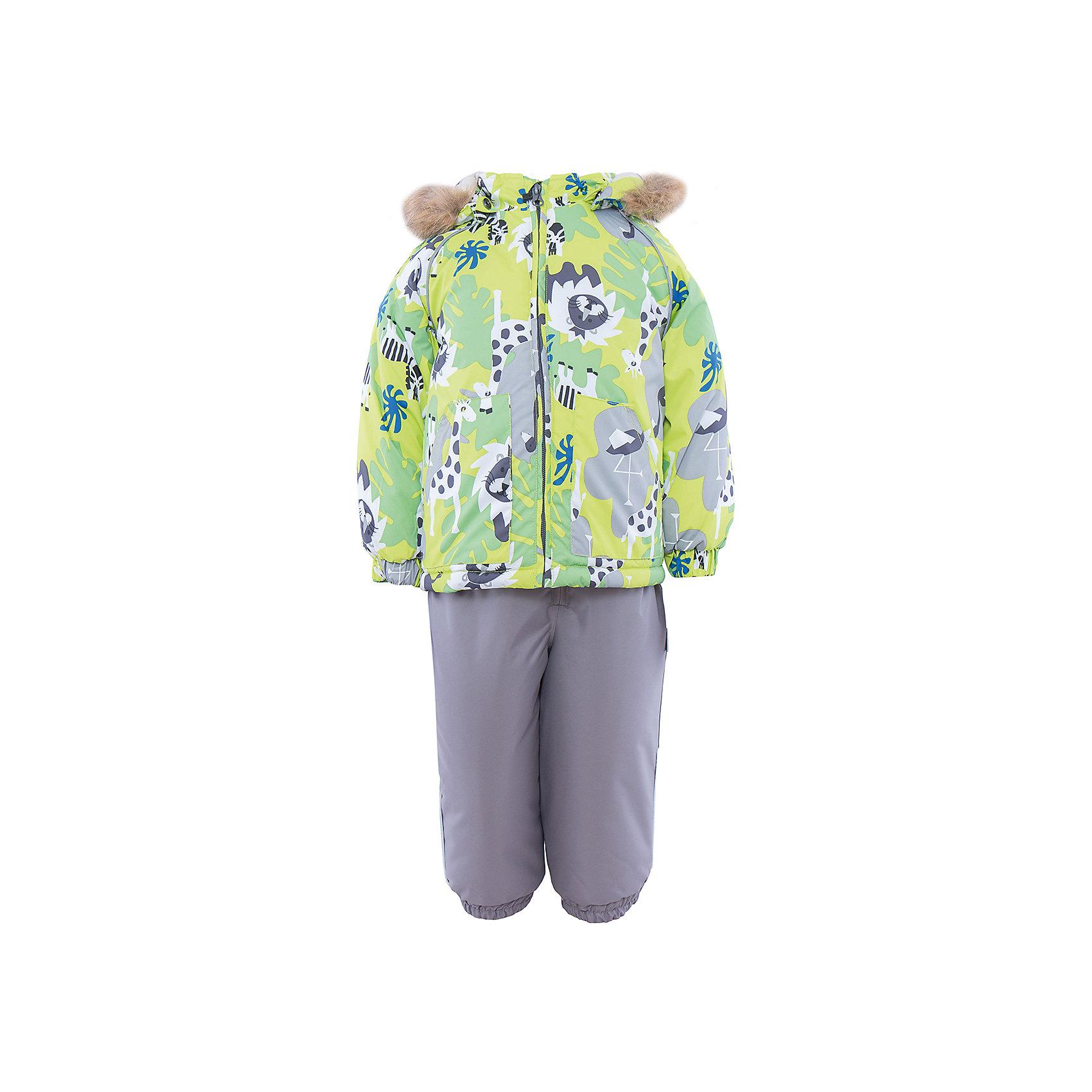 Комплект HuppaВерхняя одежда<br>Комплект из куртки и комбинезона AVERY Huppa(Хуппа).<br><br>Утеплитель: 100% полиэстер. Куртка – 300 гр., полукомбинезон – 160 гр.<br><br>Температурный режим: до -30 градусов. Степень утепления – высокая. <br><br>* Температурный режим указан приблизительно — необходимо, прежде всего, ориентироваться на ощущения ребенка. Температурный режим работает в случае соблюдения правила многослойности – использования флисовой поддевы и термобелья.<br><br>Отлично подойдет для зимних прогулок. Комбинезон имеет подтяжки и резинки на талии и манжетах. Куртка с капюшоном и резинками на манжетах имеет необычный дизайн и принт со зверюшками.<br><br>Особенности:<br>-плотная дышащая и водоотталкивающая мембрана<br>-водонепроницаемый<br>-мягкая фланелевая подкладка<br>-водостойкая лента на швах<br>-высокая прочность<br>-светоотражающие элементы<br>-съемный капюшон с отстегивающимся мехом<br>-шаговый шов проклеен<br><br>Дополнительная информация:<br>Материал: 100% полиэстер<br>Подкладка: фланель - 100% хлопок<br>Цвет: серый/салатовый<br><br>Вы можете приобрести комплект AVERY Huppa(Хуппа) в нашем интернет-магазине.<br><br>Ширина мм: 356<br>Глубина мм: 10<br>Высота мм: 245<br>Вес г: 519<br>Цвет: зеленый<br>Возраст от месяцев: 24<br>Возраст до месяцев: 36<br>Пол: Унисекс<br>Возраст: Детский<br>Размер: 98,80,104,86,92<br>SKU: 4928774