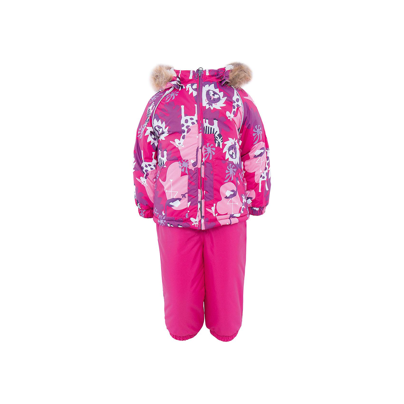Комплект HuppaКомплект из куртки и комбинезона AVERY Huppa(Хуппа).<br><br>Утеплитель: 100% полиэстер. Куртка – 300 гр., полукомбинезон – 160 гр.<br><br>Температурный режим: до -30 градусов. Степень утепления – высокая. <br><br>* Температурный режим указан приблизительно — необходимо, прежде всего, ориентироваться на ощущения ребенка. Температурный режим работает в случае соблюдения правила многослойности – использования флисовой поддевы и термобелья.<br><br>Отлично подойдет для зимних прогулок. Комбинезон имеет подтяжки и резинки на талии и манжетах. Куртка с капюшоном и резинками на манжетах имеет необычный дизайн и принт со зверюшками.<br><br>Особенности:<br>-плотная дышащая и водоотталкивающая мембрана<br>-водонепроницаемый<br>-мягкая фланелевая подкладка<br>-водостойкая лента на швах<br>-высокая прочность<br>-светоотражающие элементы<br>-съемный капюшон с отстегивающимся мехом<br>-шаговый шов проклеен<br><br>Дополнительная информация:<br>Материал: 100% полиэстер<br>Подкладка: фланель - 100% хлопок<br>Цвет: фуксия<br><br>Вы можете приобрести комплект AVERY Huppa(Хуппа) в нашем интернет-магазине.<br><br>Ширина мм: 356<br>Глубина мм: 10<br>Высота мм: 245<br>Вес г: 519<br>Цвет: розовый<br>Возраст от месяцев: 12<br>Возраст до месяцев: 15<br>Пол: Женский<br>Возраст: Детский<br>Размер: 80,104,86,92,98<br>SKU: 4928780