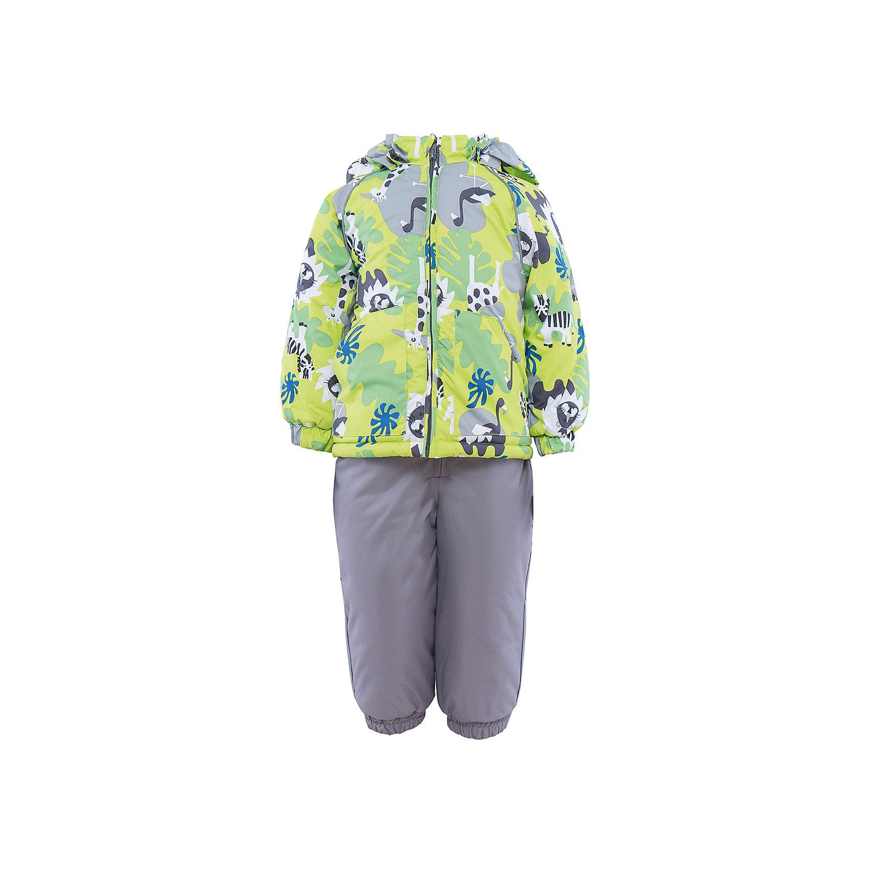 Комплект HuppaВерхняя одежда<br>Комплект из куртки и комбинезона AVERY1 Huppa(Хуппа).<br><br>Утеплитель: 100% полиэстер. Куртка – 300 гр., полукомбинезон – 160 гр.<br><br>Температурный режим: до -30 градусов. Степень утепления – высокая. <br><br>* Температурный режим указан приблизительно — необходимо, прежде всего, ориентироваться на ощущения ребенка. Температурный режим работает в случае соблюдения правила многослойности – использования флисовой поддевы и термобелья.<br><br>Отлично подойдет для зимних прогулок. Комбинезон имеет подтяжки и резинки на талии и манжетах. Куртка с капюшоном и резинками на манжетах имеет необычный дизайн и принт со зверюшками.<br><br>Особенности:<br>-плотная дышащая и водоотталкивающая мембрана<br>-водонепроницаемый<br>-мягкая фланелевая подкладка<br>-водостойкая лента на швах<br>-высокая прочность<br>-светоотражающие элементы<br>-съемный капюшон (мех не отстегивается)<br><br>Дополнительная информация:<br>Материал: 100% полиэстер<br>Подкладка: фланель - 100% хлопок<br>Цвет: салатовый/серый<br><br>Вы можете приобрести комплект AVERY1 Huppa(Хуппа) в нашем интернет-магазине.<br><br>Ширина мм: 356<br>Глубина мм: 10<br>Высота мм: 245<br>Вес г: 519<br>Цвет: зеленый<br>Возраст от месяцев: 12<br>Возраст до месяцев: 15<br>Пол: Унисекс<br>Возраст: Детский<br>Размер: 80,104,86,92,98<br>SKU: 4928798