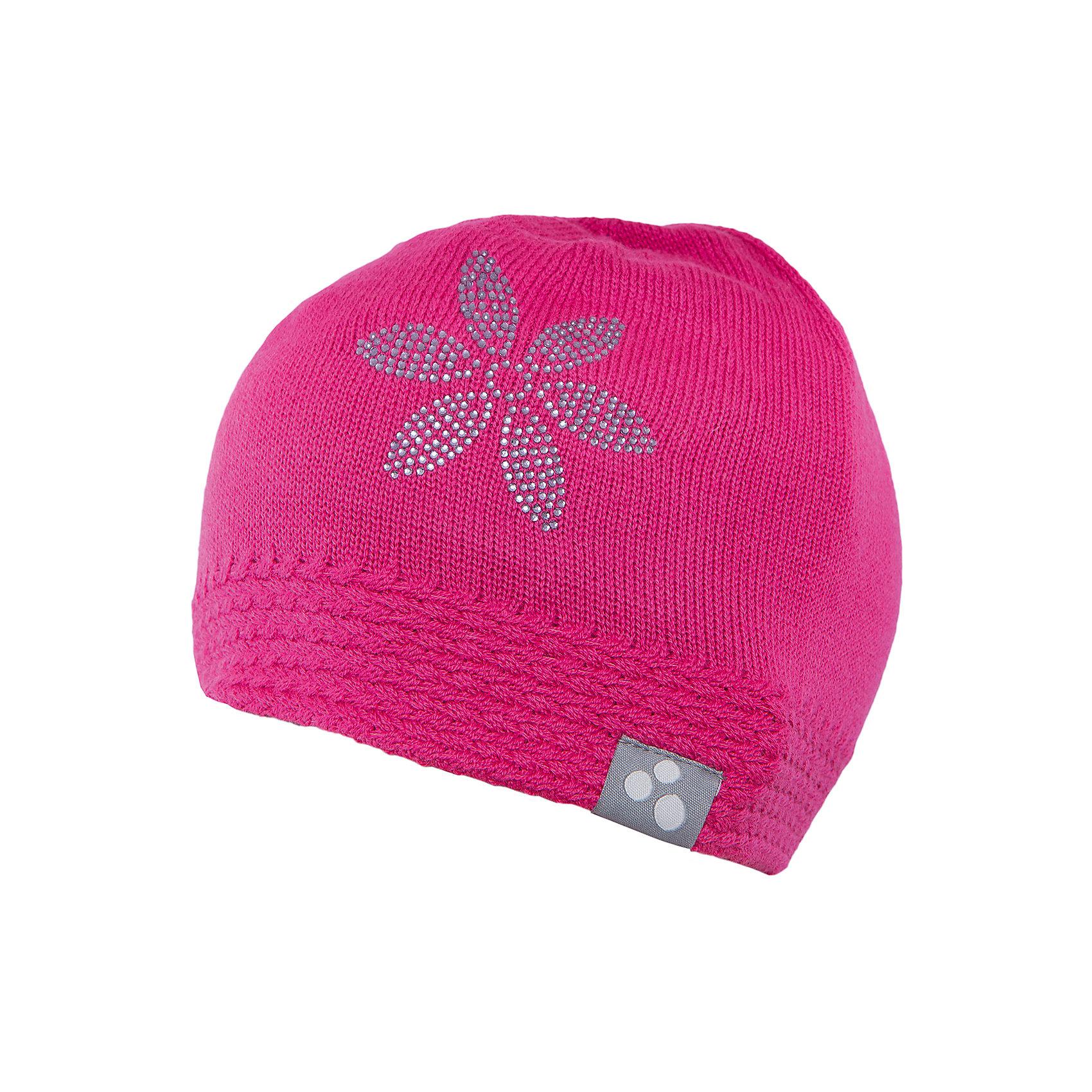 Шапка для девочки HuppaГоловные уборы<br>Вязаная шапка ELIISA Huppa(Хуппа) выполнена из шерсти мериноса и акрила. Шапка украшена вязаным цветком и стразами. Есть резиночка и светоотражающие элементы по нижнему краю. Такая шапочка приятно согреет девочку в холода.<br><br>Дополнительная информация:<br>Материал: 50% шерсть мериноса, 50% акрил<br>Цвет: фуксия<br><br>Шапку ELIISA Huppa(Хуппа) можно купить в нашем интернет-магазине.<br><br>Ширина мм: 89<br>Глубина мм: 117<br>Высота мм: 44<br>Вес г: 155<br>Цвет: розовый<br>Возраст от месяцев: 84<br>Возраст до месяцев: 120<br>Пол: Женский<br>Возраст: Детский<br>Размер: 55-57,55-57,51-53<br>SKU: 4928898