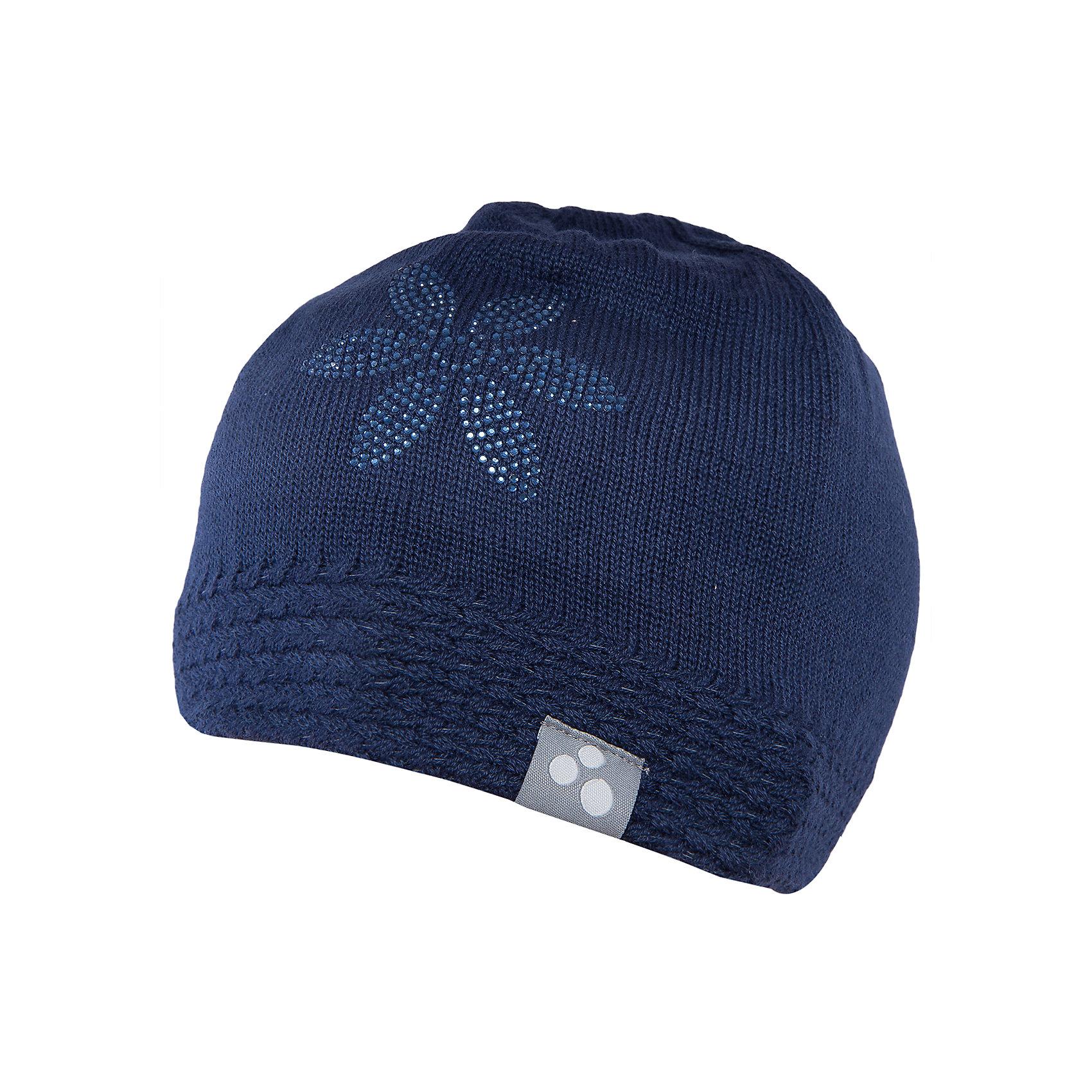 Шапка для девочки HuppaГоловные уборы<br>Вязаная шапка ELIISA Huppa(Хуппа) выполнена из шерсти мериноса и акрила. Шапка украшена вязаным цветком и стразами. Есть резиночка и светоотражающие элементы по нижнему краю. Такая шапочка приятно согреет девочку в холода.<br><br>Дополнительная информация:<br>Материал: 50% шерсть мериноса, 50% акрил<br>Цвет: темно-синий<br><br>Шапку ELIISA Huppa(Хуппа) можно купить в нашем интернет-магазине.<br><br>Ширина мм: 89<br>Глубина мм: 117<br>Высота мм: 44<br>Вес г: 155<br>Цвет: синий<br>Возраст от месяцев: 84<br>Возраст до месяцев: 120<br>Пол: Женский<br>Возраст: Детский<br>Размер: 55-57,55-57,51-53<br>SKU: 4928902