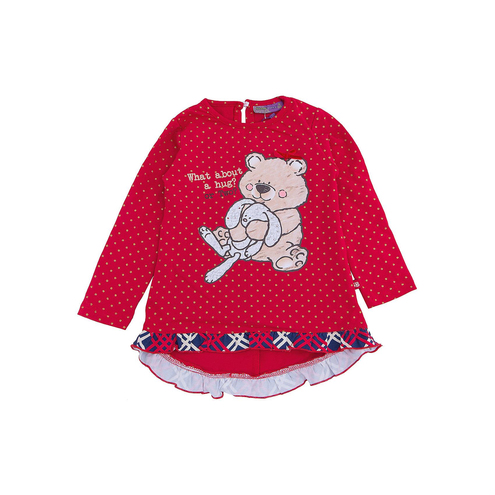 Футболка с длинным рукавом для девочки Sweet BerryФутболки с длинным рукавом<br>Очаровательная модная красная футболка с длинным рукавом станет оригинальным дополнением гардероба девочки. Модель изготовлена из мягкой и приятной к телу трикотажной ткани, которая прекрасно вентилируется и идеально подходит для детей. Для того, чтобы изделие не теряло форму, в состав добавлено небольшое количество эластана. Футболка с длинными рукавами имеет овальный вырез горловины, обработанный трикотажным кантом. Продуманный крой изделия не стесняет движений ребенка, позволяя ему свободно двигаться и играть в активные игры. Стильная футболка выполнена в приятном сочетании красного цвета и золотых паеток, на груди изображены мишка и зайка. По низу оборка из принтованного в клетку трикотажа.<br><br> Дополнительная информация:<br><br>- комплектация: футболка с длинным рукавом<br>- цвет: красный<br>- вид застежки: без застежки <br>- состав: 95% хлопок, 5% эластан <br>- уход за вещами: бережная стирка при t не более 40с<br>- рисунок: с рисунком<br>- назначение: повседневная<br>- сезон: осень-зима<br>- пол: девочки<br><br>Футболку с длинным рукавом  для девочки торговой марки Sweet Berry можно купить в нашем интернет-магазине<br><br>Ширина мм: 230<br>Глубина мм: 40<br>Высота мм: 220<br>Вес г: 250<br>Цвет: красный<br>Возраст от месяцев: 72<br>Возраст до месяцев: 84<br>Пол: Женский<br>Возраст: Детский<br>Размер: 122,98,104,110,116,128<br>SKU: 4929373