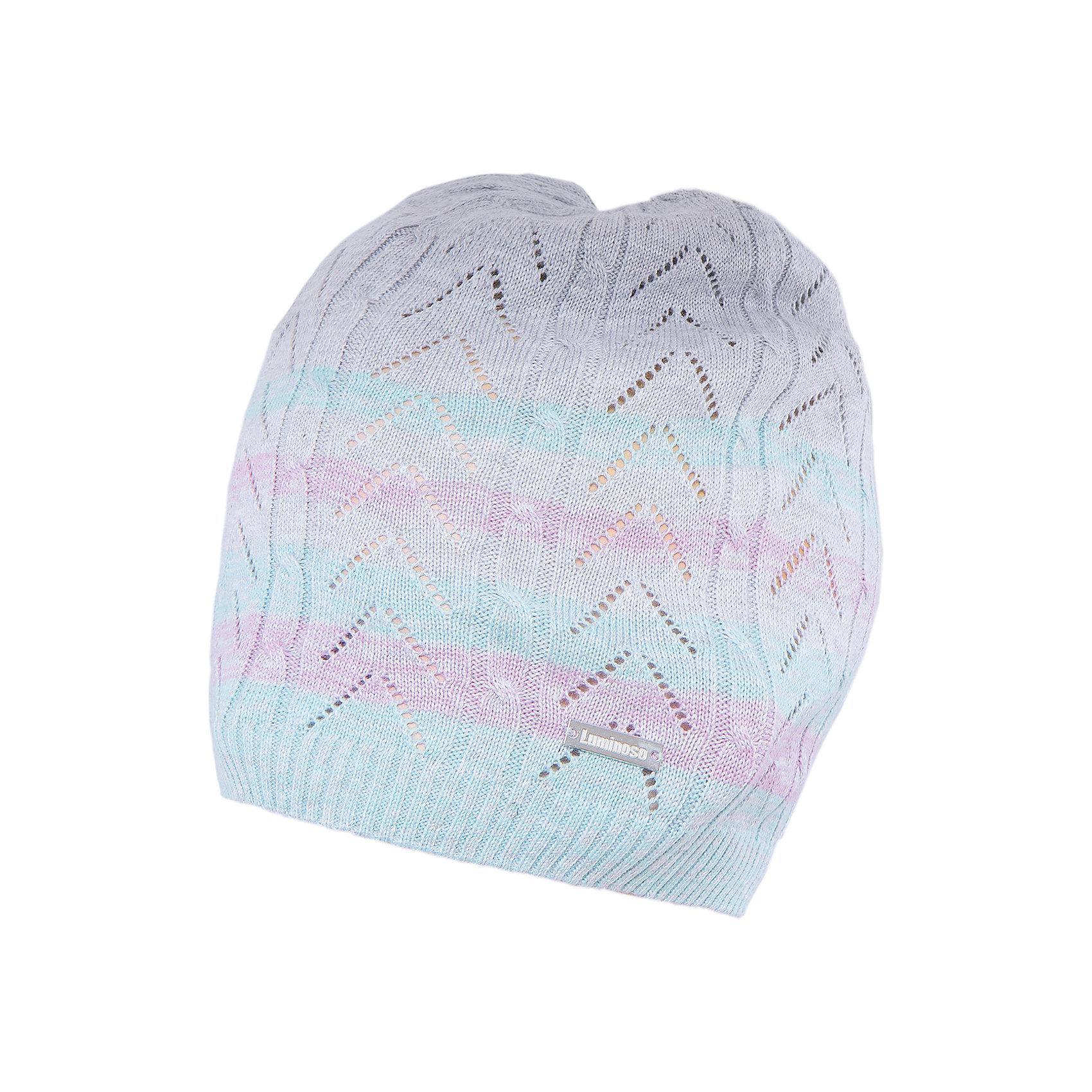Шапка для девочки LuminosoГоловные уборы<br>Характеристики товара:<br><br>- цвет: разноцветный;<br>- материал: 60% хлопок, 40% акрил;<br>- тонкая пряжа;<br>- резинка по низу;<br>- вязаный узор.<br><br>Стильная одежда от бренда Luminoso (Люминосо), созданная при участии итальянских дизайнеров, учитывает потребности подростков и последние веяния моды. Она удобная и модная.<br>Эта легкая вязаная шапка - для прохладной погоды. Она хорошо сидит на ребенке, обеспечивает комфорт и отлично сочетается с одежной разных стилей. Модель отличается высоким качеством пряжи и продуманным дизайном.<br><br>Шапку для девочки от бренда Luminoso (Люминосо) можно купить в нашем интернет-магазине.<br><br>Ширина мм: 89<br>Глубина мм: 117<br>Высота мм: 44<br>Вес г: 155<br>Цвет: серый<br>Возраст от месяцев: 72<br>Возраст до месяцев: 84<br>Пол: Женский<br>Возраст: Детский<br>Размер: 56,54<br>SKU: 4929464