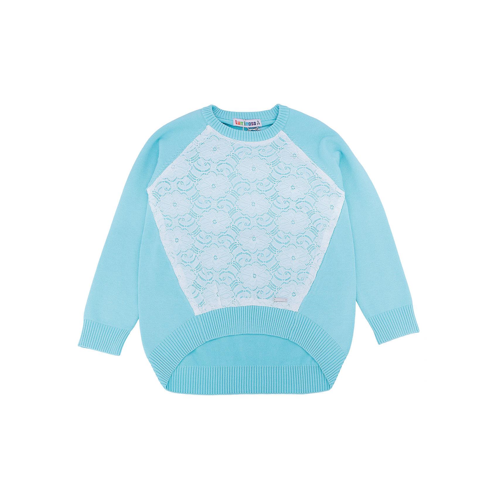 Свитер для девочки LuminosoХарактеристики товара:<br><br>- цвет: голубой;<br>- материал: 60% хлопок, 40% акрил;<br>- декорирован кружевом;<br>- резинка по низу и на рукавах;<br>- длинный рукав;<br>- спинка длиннее;<br>- рукава реглан.<br><br>Стильная одежда от бренда Luminoso (Люминосо), созданная при участии итальянских дизайнеров, учитывает потребности подростков и последние веяния моды. Она удобная и модная.<br>Этот стильный свитер идеален для прохладной погоды. Он хорошо сидит на ребенке, обеспечивает комфорт и отлично сочетается с одежной разных стилей. Модель отличается высоким качеством материала и продуманным дизайном.<br><br>Свитер для девочки от бренда Luminoso (Люминосо) можно купить в нашем интернет-магазине.<br><br>Ширина мм: 190<br>Глубина мм: 74<br>Высота мм: 229<br>Вес г: 236<br>Цвет: голубой<br>Возраст от месяцев: 156<br>Возраст до месяцев: 168<br>Пол: Женский<br>Возраст: Детский<br>Размер: 164,134,140,146,152,158<br>SKU: 4929486