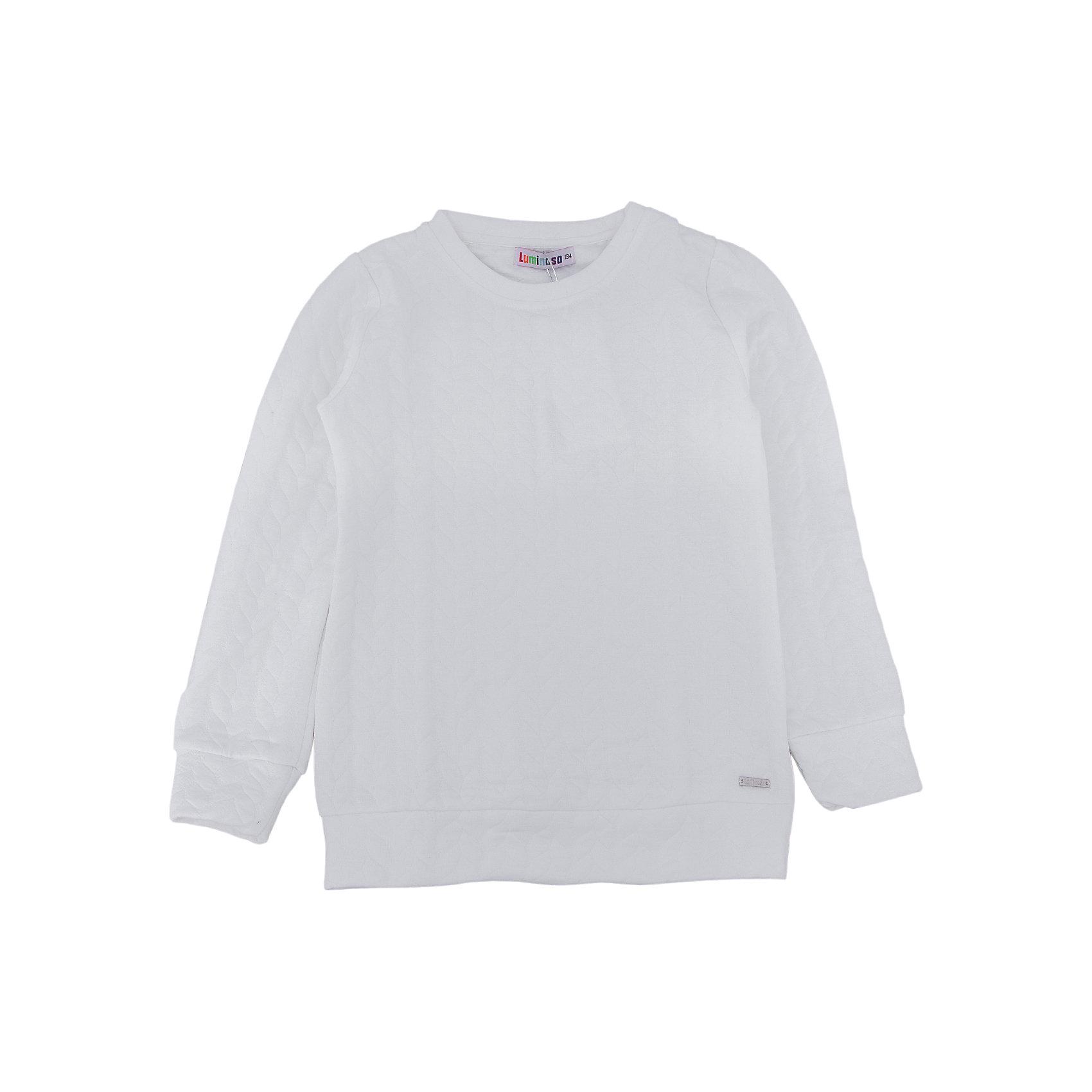 Толстовка для девочки LuminosoХарактеристики товара:<br><br>- цвет: белый;<br>- материал: 60% хлопок, 40% акрил;<br>- плотный фактурный трикотаж;<br>- длинный рукав;<br>- округлый горловой вырез.<br><br>Стильная одежда от бренда Luminoso (Люминосо), созданная при участии итальянских дизайнеров, учитывает потребности подростков и последние веяния моды. Она удобная и модная.<br>Эта стильная толстовка идеальна для прохладной погоды. Он хорошо сидит на ребенке, обеспечивает комфорт и отлично сочетается с одежной разных стилей. Модель отличается высоким качеством материала и продуманным дизайном.<br><br>Толстовку для девочки от бренда Luminoso (Люминосо) можно купить в нашем интернет-магазине.<br><br>Ширина мм: 190<br>Глубина мм: 74<br>Высота мм: 229<br>Вес г: 236<br>Цвет: белый<br>Возраст от месяцев: 96<br>Возраст до месяцев: 108<br>Пол: Женский<br>Возраст: Детский<br>Размер: 134,164,158,140,152,146<br>SKU: 4929500