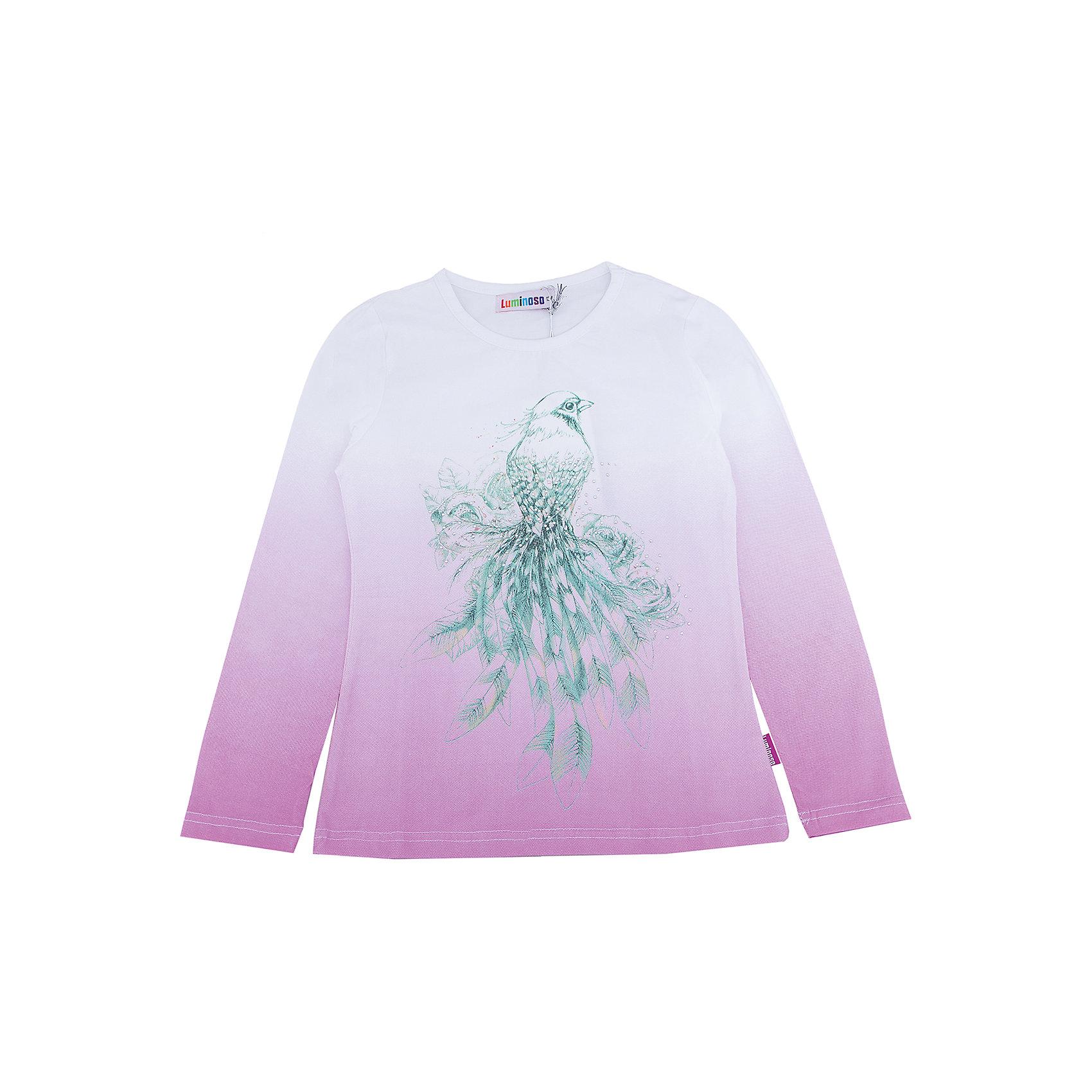 Футболка с длинным рукавом для девочки LuminosoФутболки с длинным рукавом<br>Характеристики товара:<br><br>- цвет: фиолетовый;<br>- материал: 95% хлопок, 5% эластан;<br>- декорирована принтом;<br>- длинный рукав;<br>- округлый горловой вырез.<br><br>Стильная одежда от бренда Luminoso (Люминосо), созданная при участии итальянских дизайнеров, учитывает потребности подростков и последние веяния моды. Она удобная и модная.<br>Эта футболка с длинным рукавом выглядит стильно и нарядно, но при этом подходит для ежедневного ношения. Он хорошо сидит на ребенке, обеспечивает комфорт и отлично сочетается с одежной разных стилей. Модель отличается высоким качеством материала и продуманным дизайном. Натуральный хлопок в составе изделия делает его дышащим, приятным на ощупь и гипоаллергеным.<br><br>Футболку с длинным рукавом для девочки от бренда Luminoso (Люминосо) можно купить в нашем интернет-магазине.<br><br>Ширина мм: 230<br>Глубина мм: 40<br>Высота мм: 220<br>Вес г: 250<br>Цвет: лиловый<br>Возраст от месяцев: 144<br>Возраст до месяцев: 156<br>Пол: Женский<br>Возраст: Детский<br>Размер: 158,134,164,140,152,146<br>SKU: 4929507