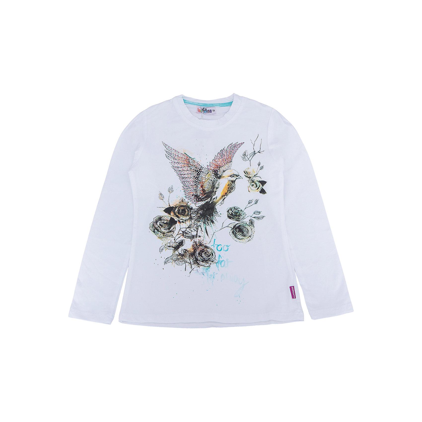 Футболка с длинным рукавом для девочки LuminosoХарактеристики товара:<br><br>- цвет: белый;<br>- материал: 95% хлопок, 5% эластан;<br>- декорирована принтом;<br>- длинный рукав;<br>- округлый горловой вырез.<br><br>Стильная одежда от бренда Luminoso (Люминосо), созданная при участии итальянских дизайнеров, учитывает потребности подростков и последние веяния моды. Она удобная и модная.<br>Эта футболка с длинным рукавом выглядит стильно и нарядно, но при этом подходит для ежедневного ношения. Он хорошо сидит на ребенке, обеспечивает комфорт и отлично сочетается с одежной разных стилей. Модель отличается высоким качеством материала и продуманным дизайном. Натуральный хлопок в составе изделия делает его дышащим, приятным на ощупь и гипоаллергеным.<br><br>Футболку с длинным рукавом для девочки от бренда Luminoso (Люминосо) можно купить в нашем интернет-магазине.<br><br>Ширина мм: 230<br>Глубина мм: 40<br>Высота мм: 220<br>Вес г: 250<br>Цвет: белый<br>Возраст от месяцев: 156<br>Возраст до месяцев: 168<br>Пол: Женский<br>Возраст: Детский<br>Размер: 146,140,164,134,158,152<br>SKU: 4929514