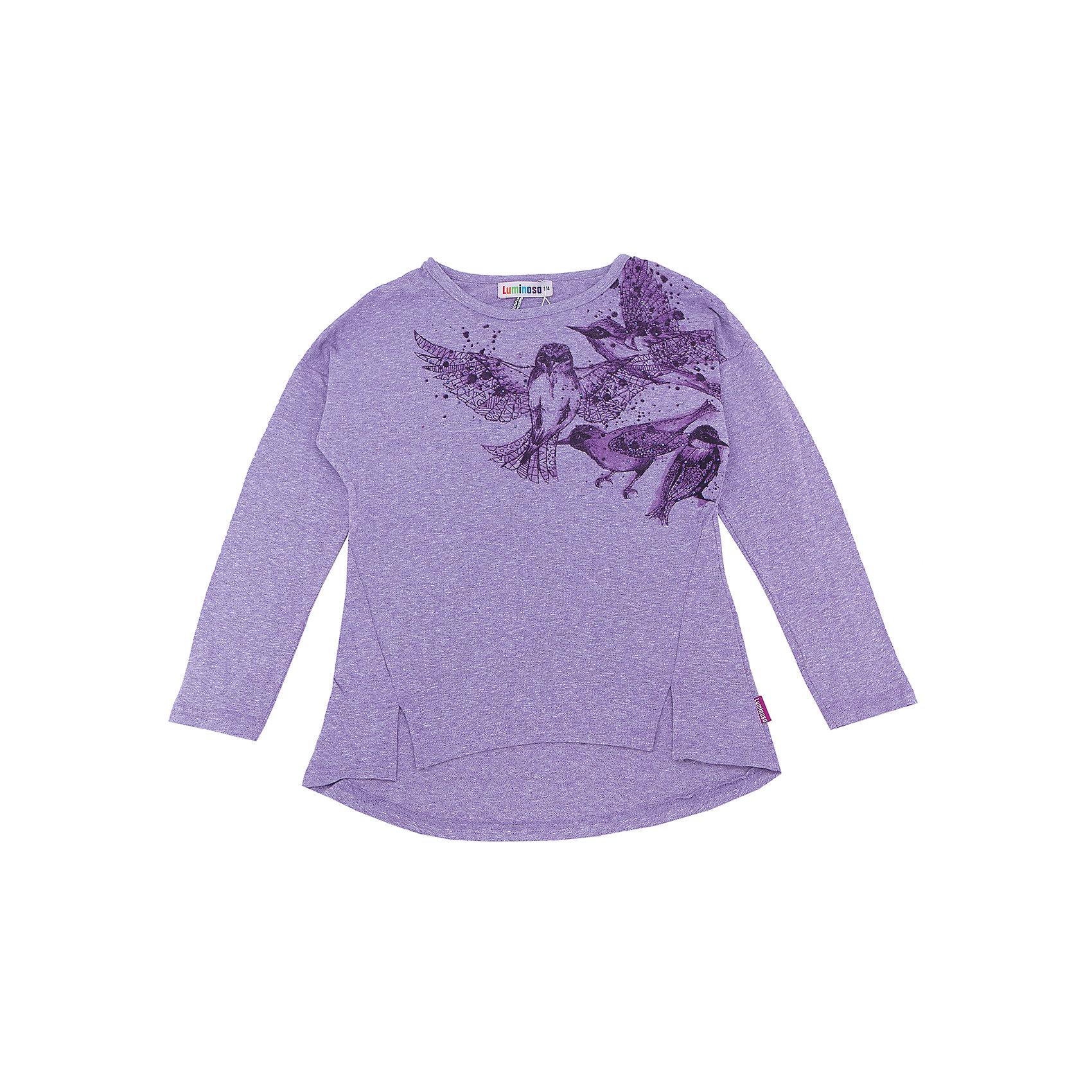 Футболка с длинным рукавом для девочки LuminosoФутболки с длинным рукавом<br>Характеристики товара:<br><br>- цвет: фиолетовый;<br>- материал: 75% хлопок 20%вискоза 5%эластан;<br>- декорирована принтом;<br>- длинный рукав;<br>- округлый горловой вырез.<br><br>Стильная одежда от бренда Luminoso (Люминосо), созданная при участии итальянских дизайнеров, учитывает потребности подростков и последние веяния моды. Она удобная и модная.<br>Эта футболка с длинным рукавом выглядит стильно и нарядно, но при этом подходит для ежедневного ношения. Он хорошо сидит на ребенке, обеспечивает комфорт и отлично сочетается с одежной разных стилей. Модель отличается высоким качеством материала и продуманным дизайном. Натуральный хлопок в составе изделия делает его дышащим, приятным на ощупь и гипоаллергеным.<br><br>Футболку с длинным рукавом для девочки от бренда Luminoso (Люминосо) можно купить в нашем интернет-магазине.<br><br>Ширина мм: 230<br>Глубина мм: 40<br>Высота мм: 220<br>Вес г: 250<br>Цвет: фиолетовый<br>Возраст от месяцев: 132<br>Возраст до месяцев: 144<br>Пол: Женский<br>Возраст: Детский<br>Размер: 152,164,134,140,146,158<br>SKU: 4929521