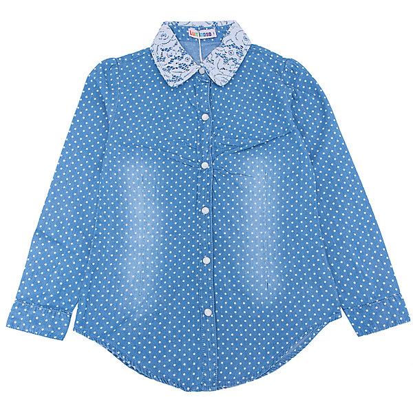 Рубашка джинсовая для девочки LuminosoДжинсовая одежда<br>Характеристики товара:<br><br>- цвет: голубой;<br>- материал: 100% хлопок;<br>- ворот - декорирован кружевом;<br>- длинный рукав;<br>- застежки кнопки.<br><br>Стильная одежда от бренда Luminoso (Люминосо), созданная при участии итальянских дизайнеров, учитывает потребности подростков и последние веяния моды. Она удобная и модная.<br>Эта хлопковая рубашка выглядит стильно и нарядно, но при этом подходит для ежедневного ношения. Он хорошо сидит на ребенке, обеспечивает комфорт и отлично сочетается с одежной разных стилей. Модель отличается высоким качеством материала и продуманным дизайном. Натуральный хлопок в составе изделия делает его дышащим, приятным на ощупь и гипоаллергеным.<br><br>Рубашку для девочки от бренда Luminoso (Люминосо) можно купить в нашем интернет-магазине.<br>Ширина мм: 174; Глубина мм: 10; Высота мм: 169; Вес г: 157; Цвет: голубой; Возраст от месяцев: 156; Возраст до месяцев: 168; Пол: Женский; Возраст: Детский; Размер: 164,134,158,152,146,140; SKU: 4929549;