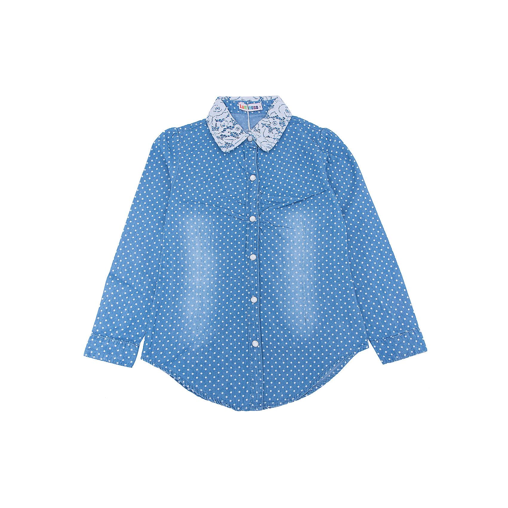 Рубашка джинсовая для девочки LuminosoБлузки и рубашки<br>Характеристики товара:<br><br>- цвет: голубой;<br>- материал: 100% хлопок;<br>- ворот - декорирован кружевом;<br>- длинный рукав;<br>- застежки кнопки.<br><br>Стильная одежда от бренда Luminoso (Люминосо), созданная при участии итальянских дизайнеров, учитывает потребности подростков и последние веяния моды. Она удобная и модная.<br>Эта хлопковая рубашка выглядит стильно и нарядно, но при этом подходит для ежедневного ношения. Он хорошо сидит на ребенке, обеспечивает комфорт и отлично сочетается с одежной разных стилей. Модель отличается высоким качеством материала и продуманным дизайном. Натуральный хлопок в составе изделия делает его дышащим, приятным на ощупь и гипоаллергеным.<br><br>Рубашку для девочки от бренда Luminoso (Люминосо) можно купить в нашем интернет-магазине.<br><br>Ширина мм: 174<br>Глубина мм: 10<br>Высота мм: 169<br>Вес г: 157<br>Цвет: голубой<br>Возраст от месяцев: 156<br>Возраст до месяцев: 168<br>Пол: Женский<br>Возраст: Детский<br>Размер: 164,134,140,146,152,158<br>SKU: 4929549