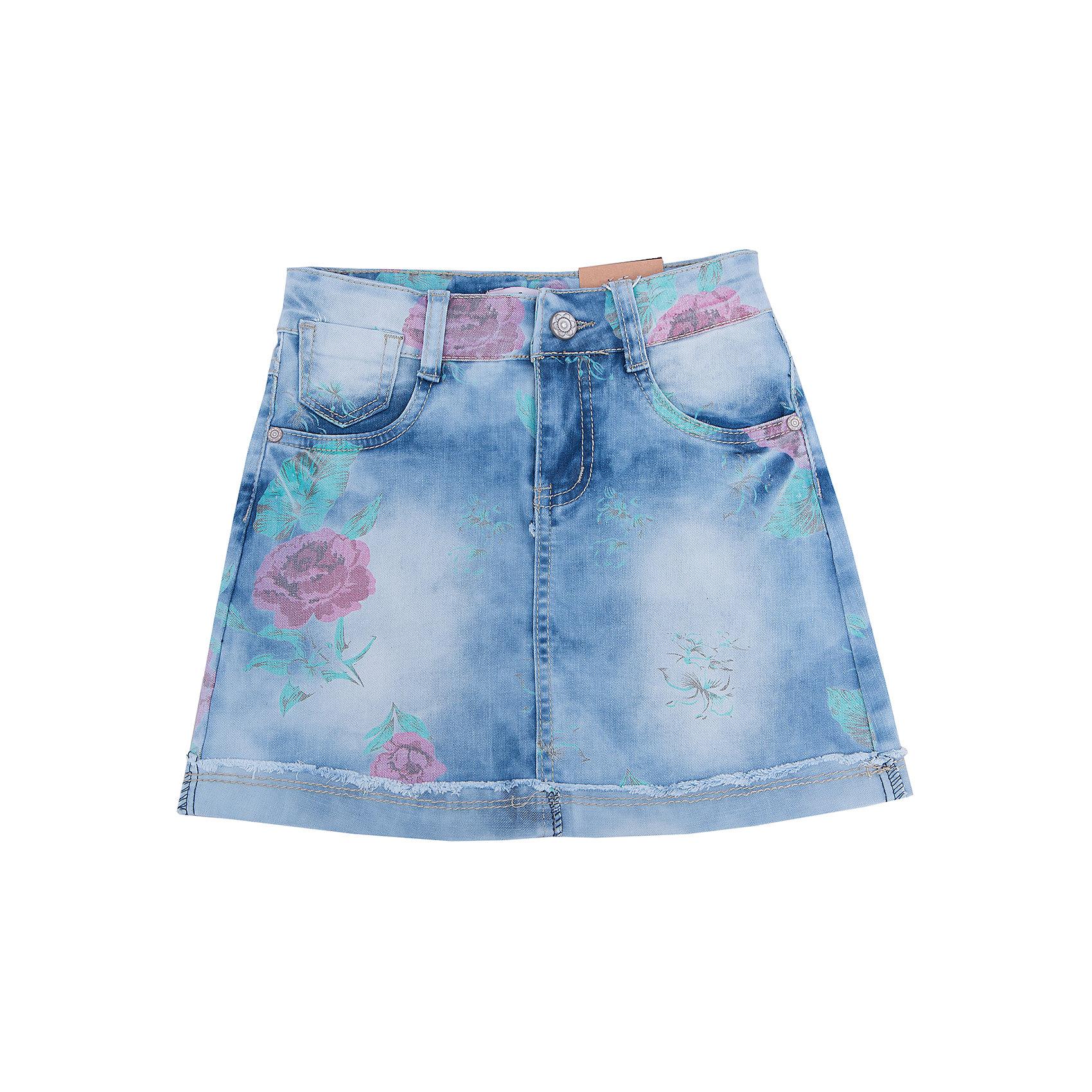 Юбка джинсовая для девочки LuminosoЮбки<br>Джинсовая юбка прямого силуэта с цветочным принтом.  Застежка на пуговицу и молнию. Пояс регулируется  внутренней резинкой на пуговицах.<br>Состав:<br>100% хлопок<br><br>Ширина мм: 207<br>Глубина мм: 10<br>Высота мм: 189<br>Вес г: 183<br>Цвет: голубой<br>Возраст от месяцев: 156<br>Возраст до месяцев: 168<br>Пол: Женский<br>Возраст: Детский<br>Размер: 164,134,140,146,152,158<br>SKU: 4929577