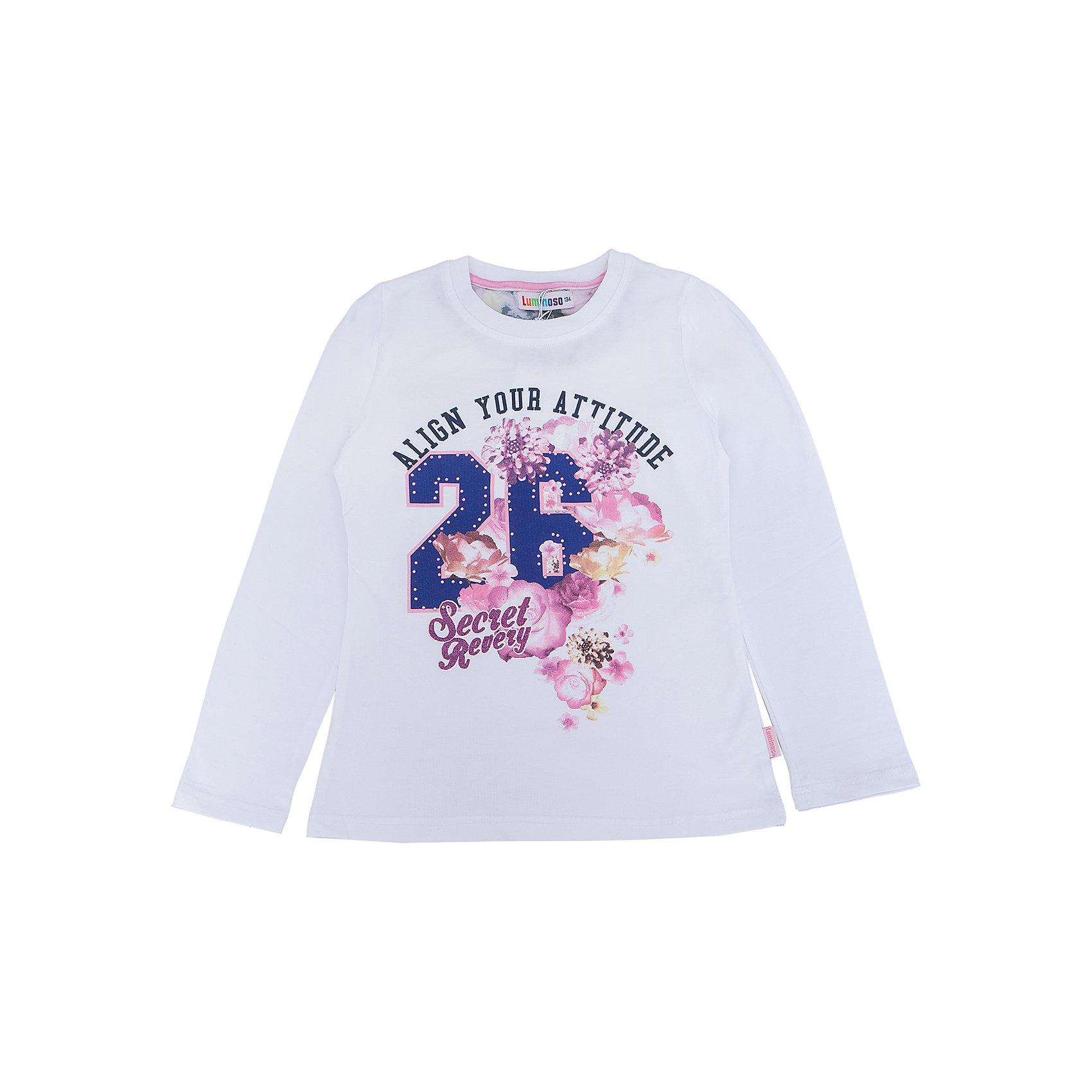 Футболка с длинным рукавом для девочки LuminosoФутболки с длинным рукавом<br>Характеристики товара:<br><br>- цвет: белый;<br>- материал: 95% хлопок, 5% эластан;<br>- декорирована принтом;<br>- длинный рукав;<br>- округлый горловой вырез.<br><br>Стильная одежда от бренда Luminoso (Люминосо), созданная при участии итальянских дизайнеров, учитывает потребности подростков и последние веяния моды. Она удобная и модная.<br>Эта футболка с длинным рукавом выглядит стильно и нарядно, но при этом подходит для ежедневного ношения. Он хорошо сидит на ребенке, обеспечивает комфорт и отлично сочетается с одежной разных стилей. Модель отличается высоким качеством материала и продуманным дизайном. Натуральный хлопок в составе изделия делает его дышащим, приятным на ощупь и гипоаллергеным.<br><br>Футболку с длинным рукавом для девочки от бренда Luminoso (Люминосо) можно купить в нашем интернет-магазине.<br><br>Ширина мм: 230<br>Глубина мм: 40<br>Высота мм: 220<br>Вес г: 250<br>Цвет: белый<br>Возраст от месяцев: 156<br>Возраст до месяцев: 168<br>Пол: Женский<br>Возраст: Детский<br>Размер: 164,134,140,146,152,158<br>SKU: 4929584