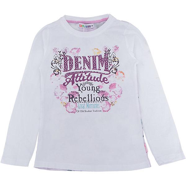 Футболка с длинным рукавом для девочки LuminosoФутболки с длинным рукавом<br>Характеристики товара:<br><br>- цвет: белый;<br>- материал: 95% хлопок, 5% эластан;<br>- декорирована принтом;<br>- длинный рукав;<br>- округлый горловой вырез.<br><br>Стильная одежда от бренда Luminoso (Люминосо), созданная при участии итальянских дизайнеров, учитывает потребности подростков и последние веяния моды. Она удобная и модная.<br>Эта футболка с длинным рукавом выглядит стильно и нарядно, но при этом подходит для ежедневного ношения. Он хорошо сидит на ребенке, обеспечивает комфорт и отлично сочетается с одежной разных стилей. Модель отличается высоким качеством материала и продуманным дизайном. Натуральный хлопок в составе изделия делает его дышащим, приятным на ощупь и гипоаллергеным.<br><br>Футболку с длинным рукавом для девочки от бренда Luminoso (Люминосо) можно купить в нашем интернет-магазине.<br>Ширина мм: 230; Глубина мм: 40; Высота мм: 220; Вес г: 250; Цвет: белый; Возраст от месяцев: 144; Возраст до месяцев: 156; Пол: Женский; Возраст: Детский; Размер: 158,152,164,134,140,146; SKU: 4929612;