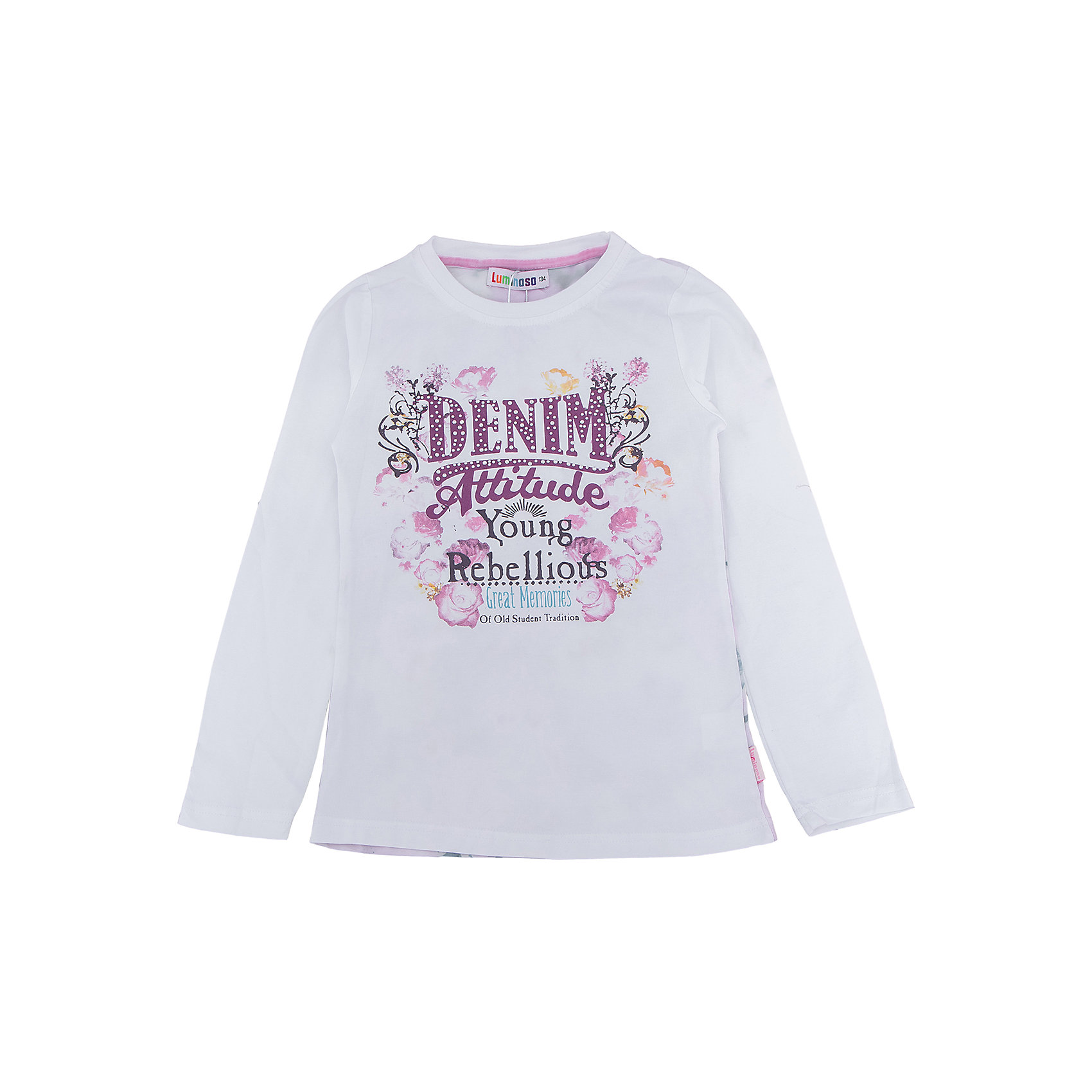 Футболка с длинным рукавом для девочки LuminosoФутболки с длинным рукавом<br>Характеристики товара:<br><br>- цвет: белый;<br>- материал: 95% хлопок, 5% эластан;<br>- декорирована принтом;<br>- длинный рукав;<br>- округлый горловой вырез.<br><br>Стильная одежда от бренда Luminoso (Люминосо), созданная при участии итальянских дизайнеров, учитывает потребности подростков и последние веяния моды. Она удобная и модная.<br>Эта футболка с длинным рукавом выглядит стильно и нарядно, но при этом подходит для ежедневного ношения. Он хорошо сидит на ребенке, обеспечивает комфорт и отлично сочетается с одежной разных стилей. Модель отличается высоким качеством материала и продуманным дизайном. Натуральный хлопок в составе изделия делает его дышащим, приятным на ощупь и гипоаллергеным.<br><br>Футболку с длинным рукавом для девочки от бренда Luminoso (Люминосо) можно купить в нашем интернет-магазине.<br><br>Ширина мм: 230<br>Глубина мм: 40<br>Высота мм: 220<br>Вес г: 250<br>Цвет: белый<br>Возраст от месяцев: 156<br>Возраст до месяцев: 168<br>Пол: Женский<br>Возраст: Детский<br>Размер: 146,152,158,164,134,140<br>SKU: 4929612