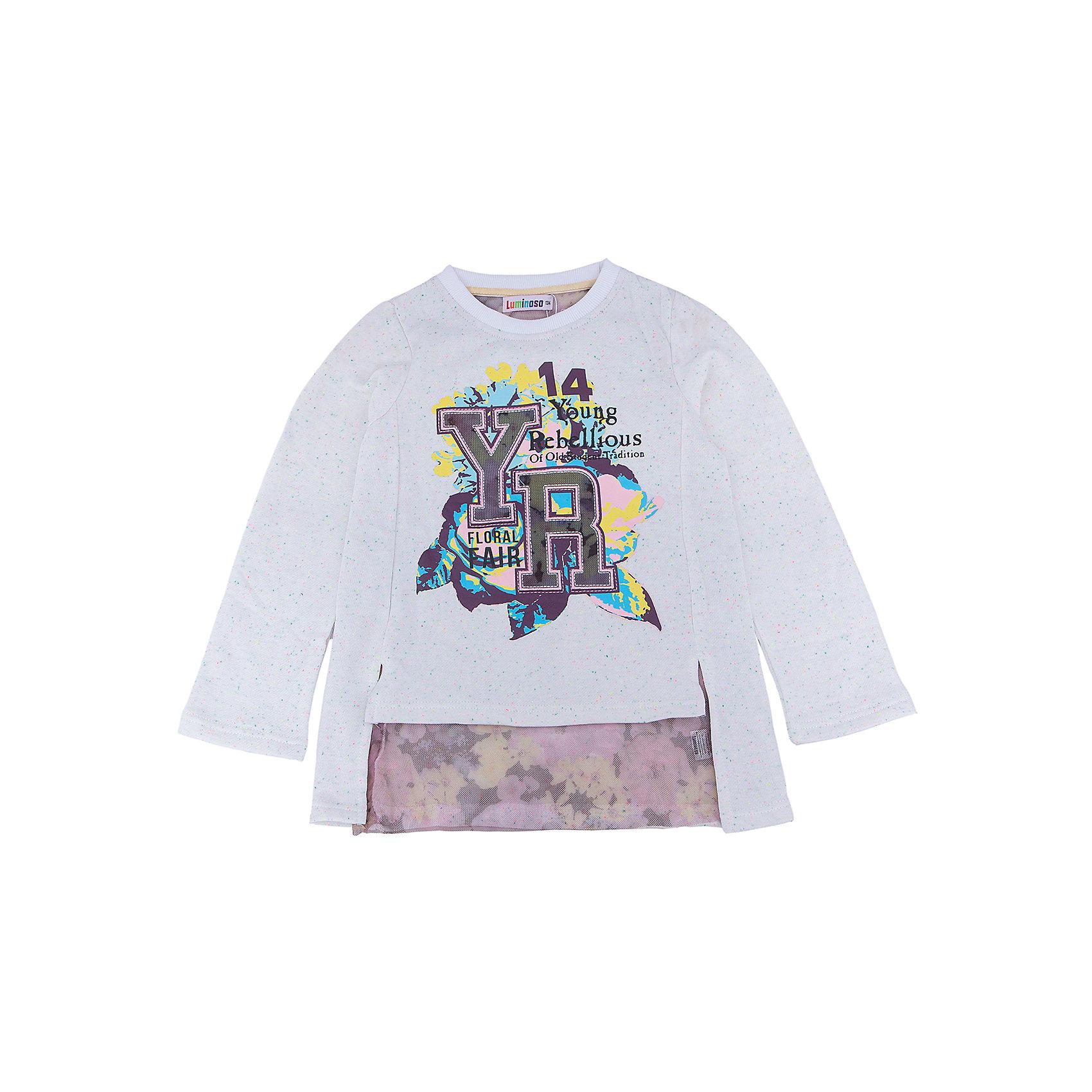 Футболка с длинным рукавом для девочки LuminosoХарактеристики товара:<br><br>- цвет: бежевый;<br>- материал: 95% хлопок, 5% эластан;<br>- декорирована принтом;<br>- длинный рукав;<br>- по низу футболки мягкая принтованная сетка.<br><br>Стильная одежда от бренда Luminoso (Люминосо), созданная при участии итальянских дизайнеров, учитывает потребности подростков и последние веяния моды. Она удобная и модная.<br>Эта футболка с длинным рукавом выглядит стильно и нарядно, но при этом подходит для ежедневного ношения. Он хорошо сидит на ребенке, обеспечивает комфорт и отлично сочетается с одежной разных стилей. Модель отличается высоким качеством материала и продуманным дизайном. Натуральный хлопок в составе изделия делает его дышащим, приятным на ощупь и гипоаллергеным.<br><br>Футболку с длинным рукавом для девочки от бренда Luminoso (Люминосо) можно купить в нашем интернет-магазине.<br><br>Ширина мм: 230<br>Глубина мм: 40<br>Высота мм: 220<br>Вес г: 250<br>Цвет: бежевый<br>Возраст от месяцев: 156<br>Возраст до месяцев: 168<br>Пол: Женский<br>Возраст: Детский<br>Размер: 164,134,140,146,152,158<br>SKU: 4929626