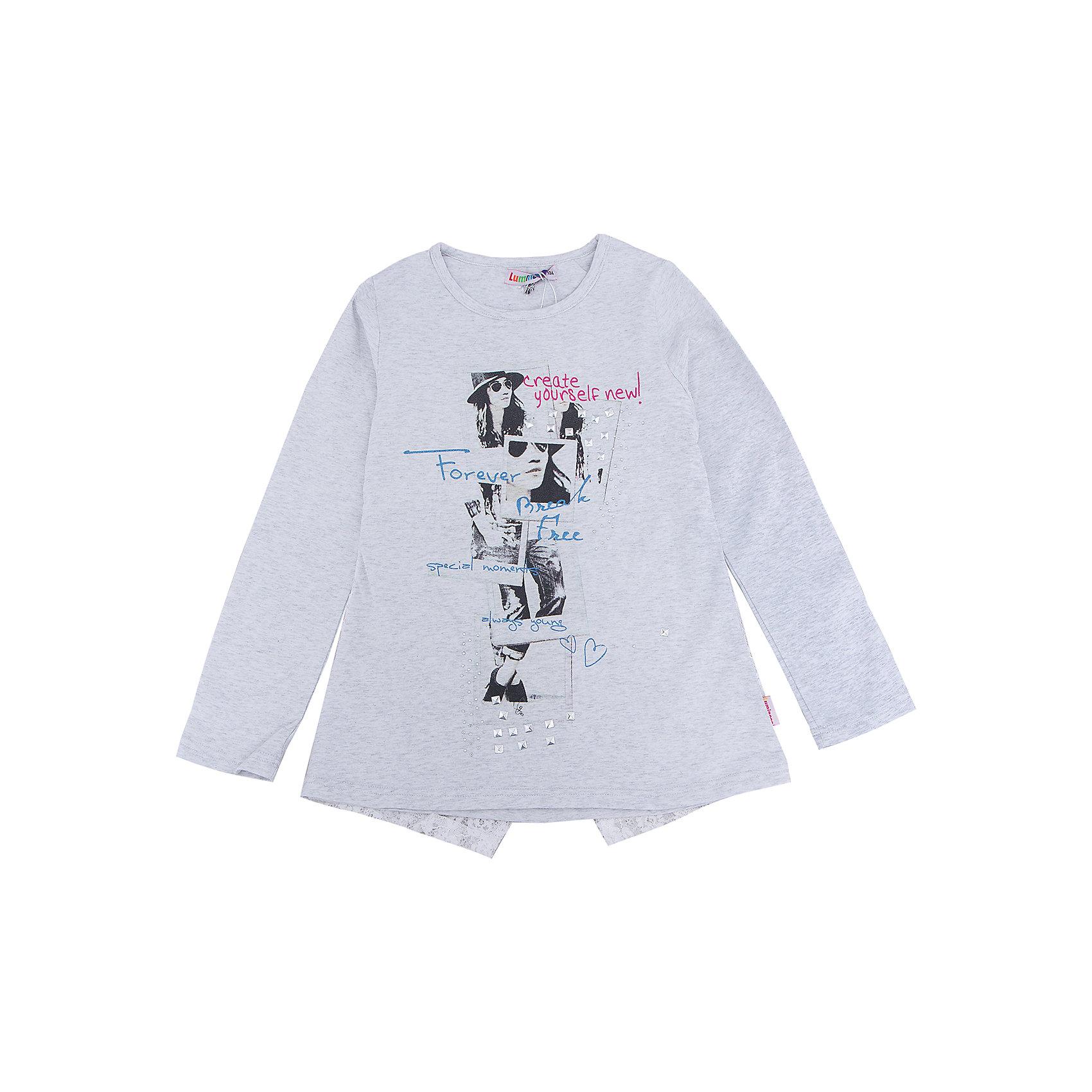 Футболка с длинным рукавом для девочки LuminosoХарактеристики товара:<br><br>- цвет: белый;<br>- материал: 95% хлопок, 5% эластан;<br>- декорирована принтом;<br>- длинный рукав;<br>- оригинальный дизайн спинки;<br>- округлый горловой вырез.<br><br>Стильная одежда от бренда Luminoso (Люминосо), созданная при участии итальянских дизайнеров, учитывает потребности подростков и последние веяния моды. Она удобная и модная.<br>Эта футболка с длинным рукавом выглядит стильно и нарядно, но при этом подходит для ежедневного ношения. Он хорошо сидит на ребенке, обеспечивает комфорт и отлично сочетается с одежной разных стилей. Модель отличается высоким качеством материала и продуманным дизайном. Натуральный хлопок в составе изделия делает его дышащим, приятным на ощупь и гипоаллергеным.<br><br>Футболку с длинным рукавом для девочки от бренда Luminoso (Люминосо) можно купить в нашем интернет-магазине.<br><br>Ширина мм: 230<br>Глубина мм: 40<br>Высота мм: 220<br>Вес г: 250<br>Цвет: серый<br>Возраст от месяцев: 120<br>Возраст до месяцев: 132<br>Пол: Женский<br>Возраст: Детский<br>Размер: 146,164,134,140,152,158<br>SKU: 4929682