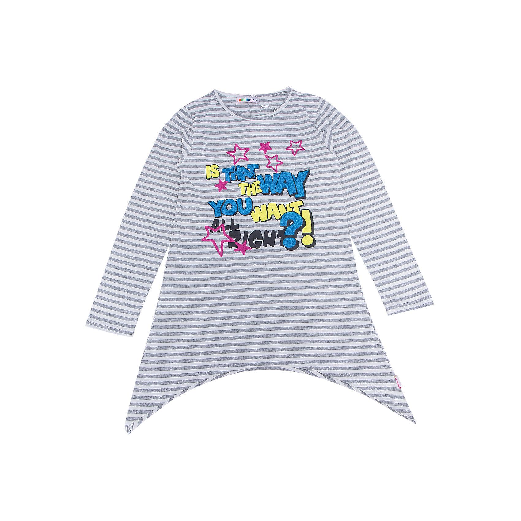 Футболка с длинным рукавом для девочки LuminosoХарактеристики товара:<br><br>- цвет: разноцветный;<br>- материал: 95% хлопок, 5% эластан;<br>- декорирована принтом;<br>- длинный рукав;<br>- оригинальный дизайн;<br>- округлый горловой вырез.<br><br>Стильная одежда от бренда Luminoso (Люминосо), созданная при участии итальянских дизайнеров, учитывает потребности подростков и последние веяния моды. Она удобная и модная.<br>Эта футболка с длинным рукавом выглядит стильно и нарядно, но при этом подходит для ежедневного ношения. Он хорошо сидит на ребенке, обеспечивает комфорт и отлично сочетается с одежной разных стилей. Модель отличается высоким качеством материала и продуманным дизайном. Натуральный хлопок в составе изделия делает его дышащим, приятным на ощупь и гипоаллергеным.<br><br>Футболку с длинным рукавом для девочки от бренда Luminoso (Люминосо) можно купить в нашем интернет-магазине.<br><br>Ширина мм: 230<br>Глубина мм: 40<br>Высота мм: 220<br>Вес г: 250<br>Цвет: серый<br>Возраст от месяцев: 108<br>Возраст до месяцев: 120<br>Пол: Женский<br>Возраст: Детский<br>Размер: 140,134,164,158,152,146<br>SKU: 4929703