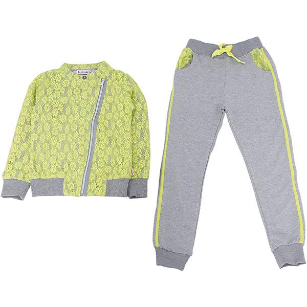 Спортивный костюм для девочки LuminosoКомплекты<br>Характеристики товара:<br><br>- цвет: разноцветный;<br>- материал: 95% хлопок, 5% эластан;<br>- трикотаж;<br>- толстовка декорирована кружевом;<br>- ассиметричная молния;<br>- брюки украшены по бокам тесьмой.<br><br>Стильная одежда от бренда Luminoso (Люминосо), созданная при участии итальянских дизайнеров, учитывает потребности подростков и последние веяния моды. Она удобная и модная.<br>Эти стильный спортивный костюм отлично впишется в гардероб девочки. Толстовка и брюки хорошо сидят на ребенке и обеспечивают комфорт. Модель отличается высоким качеством материала и продуманным дизайном. Натуральный хлопок в составе изделия делает его дышащим, приятным на ощупь и гипоаллергеным.<br><br>Спортивный костюм от бренда Luminoso (Люминосо) можно купить в нашем интернет-магазине.<br><br>Ширина мм: 247<br>Глубина мм: 16<br>Высота мм: 140<br>Вес г: 225<br>Цвет: зеленый<br>Возраст от месяцев: 156<br>Возраст до месяцев: 168<br>Пол: Женский<br>Возраст: Детский<br>Размер: 164,140,134,158,152,146<br>SKU: 4929724