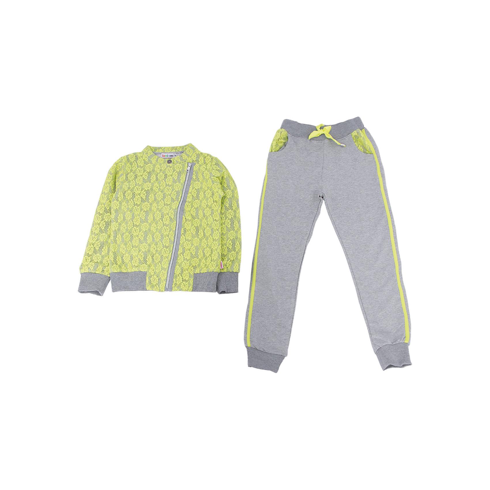 Спортивный костюм для девочки LuminosoСпортивная форма<br>Характеристики товара:<br><br>- цвет: разноцветный;<br>- материал: 95% хлопок, 5% эластан;<br>- трикотаж;<br>- толстовка декорирована кружевом;<br>- ассиметричная молния;<br>- брюки украшены по бокам тесьмой.<br><br>Стильная одежда от бренда Luminoso (Люминосо), созданная при участии итальянских дизайнеров, учитывает потребности подростков и последние веяния моды. Она удобная и модная.<br>Эти стильный спортивный костюм отлично впишется в гардероб девочки. Толстовка и брюки хорошо сидят на ребенке и обеспечивают комфорт. Модель отличается высоким качеством материала и продуманным дизайном. Натуральный хлопок в составе изделия делает его дышащим, приятным на ощупь и гипоаллергеным.<br><br>Спортивный костюм от бренда Luminoso (Люминосо) можно купить в нашем интернет-магазине.<br><br>Ширина мм: 247<br>Глубина мм: 16<br>Высота мм: 140<br>Вес г: 225<br>Цвет: зеленый<br>Возраст от месяцев: 132<br>Возраст до месяцев: 144<br>Пол: Женский<br>Возраст: Детский<br>Размер: 152,146,158,164,134,140<br>SKU: 4929724