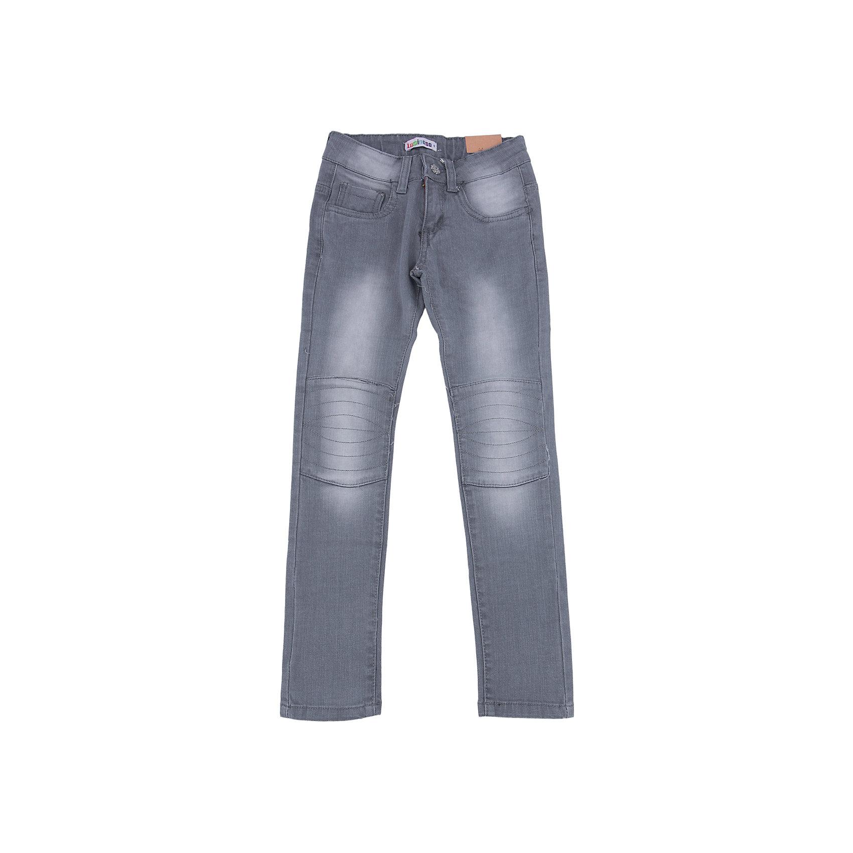 Джинсы для девочки LuminosoХарактеристики товара:<br><br>- цвет: голубой;<br>- материал: 98% хлопок, 2% эластан;<br>- застежка: пуговица и молния;<br>- пояс регулируется внутренней резинкой на пуговицах;<br>- эффект потертостей.<br><br>Стильная одежда от бренда Luminoso (Люминосо), созданная при участии итальянских дизайнеров, учитывает потребности подростков и последние веяния моды. Она удобная и модная.<br>Эти джинсы выглядят стильно, но при этом подходят для ежедневного ношения. Они хорошо сидят на ребенке, обеспечивают комфорт и отлично сочетаются с одежной разных стилей. Модель отличается высоким качеством материала и продуманным дизайном. Натуральный хлопок в составе изделия делает его дышащим, приятным на ощупь и гипоаллергеным.<br><br>Джинсы для девочки от бренда Luminoso (Люминосо) можно купить в нашем интернет-магазине.<br><br>Ширина мм: 215<br>Глубина мм: 88<br>Высота мм: 191<br>Вес г: 336<br>Цвет: голубой<br>Возраст от месяцев: 132<br>Возраст до месяцев: 144<br>Пол: Женский<br>Возраст: Детский<br>Размер: 158,164,134,140,146,152<br>SKU: 4929738