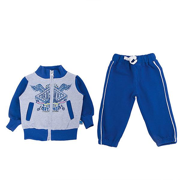 Спортивный костюм для мальчика Sweet BerryКомплекты<br>Детский комплект для мальчика торговой марки Sweet Berry, состоящий из толстовки и брюк - очень удобный и практичный. Комплект выполнен из хлопка с добавлением эластана, благодаря чему он необычайно мягкий и приятный на ощупь, не раздражают нежную кожу ребенка и хорошо вентилируются, а эластичные швы приятны телу малыша и не препятствуют его движениям. Толстовка с воротником- застегивается на пластиковую застежку-молнию. Рукава дополнены широкими трикотажными манжетами, не стягивающими запястья. Понизу также проходит широкая трикотажная резинка. На груди она оформлена оригинальным принтом. Брюки прямого покроя на талии имеют широкую эластичную резинку, благодаря чему они не сдавливают животик ребенка и не сползают. Понизу штанины дополнены широкими трикотажными манжетами. Оригинальный дизайн и модная расцветка делают этот комплект незаменимым предметом детского гардероба. В нем Ваш ребенок всегда будет в центре внимания!<br>Инструкция по уходу: стирка в холодной воде при температуре 30°С, не отбеливать, не сушить в центрифуге, гладить при низкой температуре, химчистка запрещена.<br><br> Дополнительная информация:<br><br>- комплектация:  спортивный костюм<br>- материал: 95%хлопок; 5% эластан<br>- коллекция: осень-зима 2016<br>- сезон: зима<br>- пол: для мальчиков<br>- возраст: детский<br>- цвет: синий<br>- размер упаковки (дхшхв), 30 * 20 * 4 см<br>- вес в упаковке, 390 г<br><br>Спортивный костюм  для мальчика торговой марки Sweet Berry можно купить в нашем интернет-магазине<br>Ширина мм: 247; Глубина мм: 16; Высота мм: 140; Вес г: 225; Цвет: синий; Возраст от месяцев: 12; Возраст до месяцев: 15; Пол: Мужской; Возраст: Детский; Размер: 80,98,92,86; SKU: 4929882;
