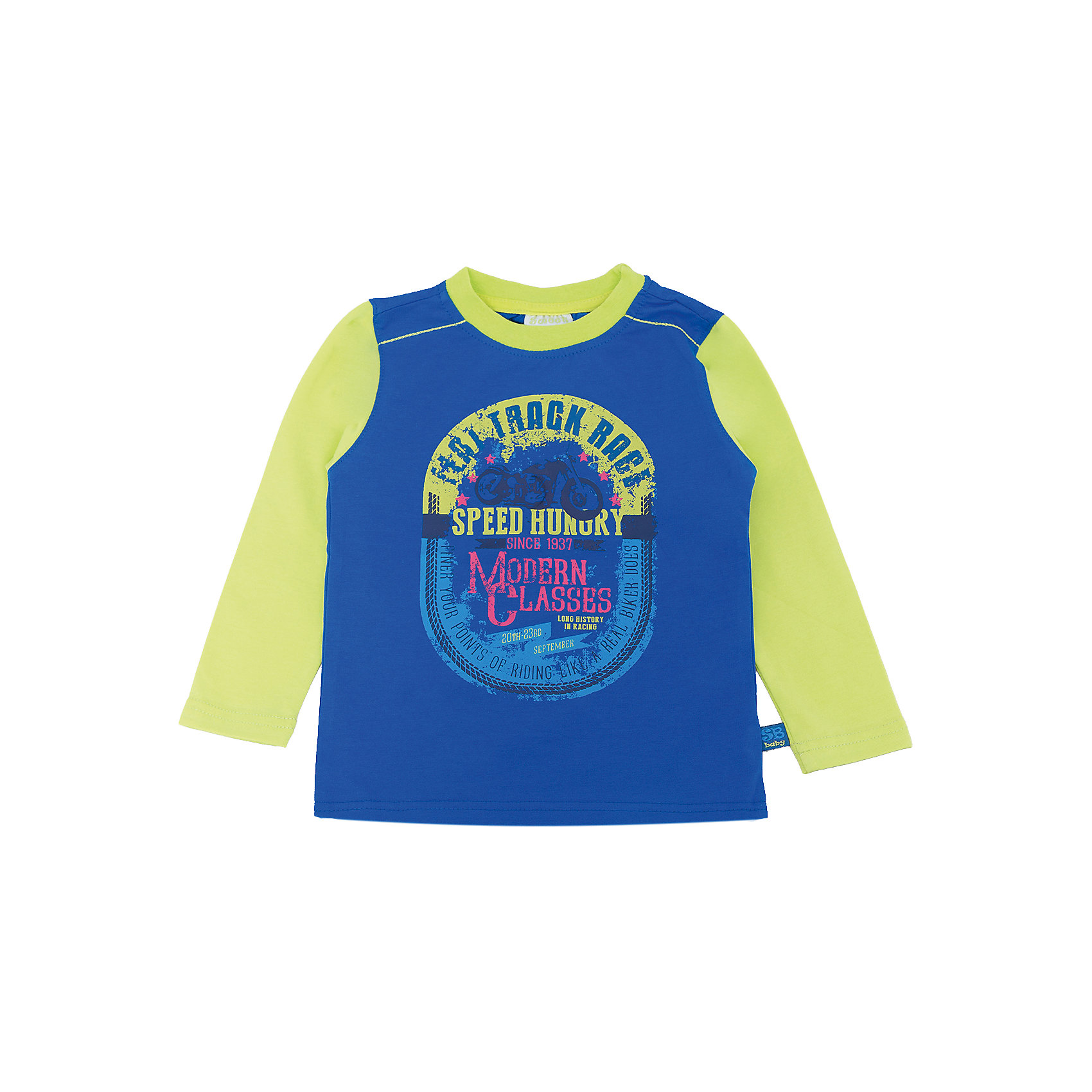 Футболка с длинным рукавом для мальчика Sweet BerryТакая футболка с длинным рукавом для мальчика отличается модным дизайном с ярким принтом. Удачный крой обеспечит ребенку комфорт и тепло. Горловина изделия обработана мягкой резинкой, поэтому вещь плотно прилегает к телу там, где нужно, и отлично сидит по фигуре.<br>Одежда от бренда Sweet Berry - это простой и выгодный способ одеть ребенка удобно и стильно. Всё изделия тщательно проработаны: швы - прочные, материал - качественный, фурнитура - подобранная специально для детей. <br><br>Дополнительная информация:<br><br>цвет: синий;<br>материал: 95% хлопок, 5% эластан;<br>декорирована принтом.<br><br>Футболку с длинным рукавом для мальчика от бренда Sweet Berry можно купить в нашем интернет-магазине.<br><br>Ширина мм: 230<br>Глубина мм: 40<br>Высота мм: 220<br>Вес г: 250<br>Цвет: синий<br>Возраст от месяцев: 18<br>Возраст до месяцев: 24<br>Пол: Мужской<br>Возраст: Детский<br>Размер: 92,98,80,86<br>SKU: 4929892