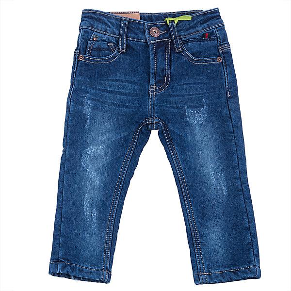 Джинсы для мальчика Sweet BerryДжинсы и брючки<br>Такая модель джинсов для мальчика отличается модным дизайном с контрастной прострочкой. Удачный крой обеспечит ребенку комфорт и тепло. Мягкая и теплая хлопковая подкладка делает вещь идеальной для прохладной погоды. Она плотно прилегает к телу там, где нужно, и отлично сидит по фигуре. Джинсы имеют регулировку размера на талии и удобные карманы. <br>Одежда от бренда Sweet Berry - это простой и выгодный способ одеть ребенка удобно и стильно. Всё изделия тщательно проработаны: швы - прочные, материал - качественный, фурнитура - подобранная специально для детей. <br><br>Дополнительная информация:<br><br>цвет: синий;<br>имитация потертостей;<br>материал: верх - 98% хлопок, 2% эластан, подкладка - 100% полиэстер;<br>внутри на поясе - регулировка размера;<br>карманы.<br><br>Джинсы для мальчика от бренда Sweet Berry можно купить в нашем интернет-магазине.<br>Ширина мм: 215; Глубина мм: 88; Высота мм: 191; Вес г: 336; Цвет: синий; Возраст от месяцев: 12; Возраст до месяцев: 15; Пол: Мужской; Возраст: Детский; Размер: 80,98,92,86; SKU: 4929917;