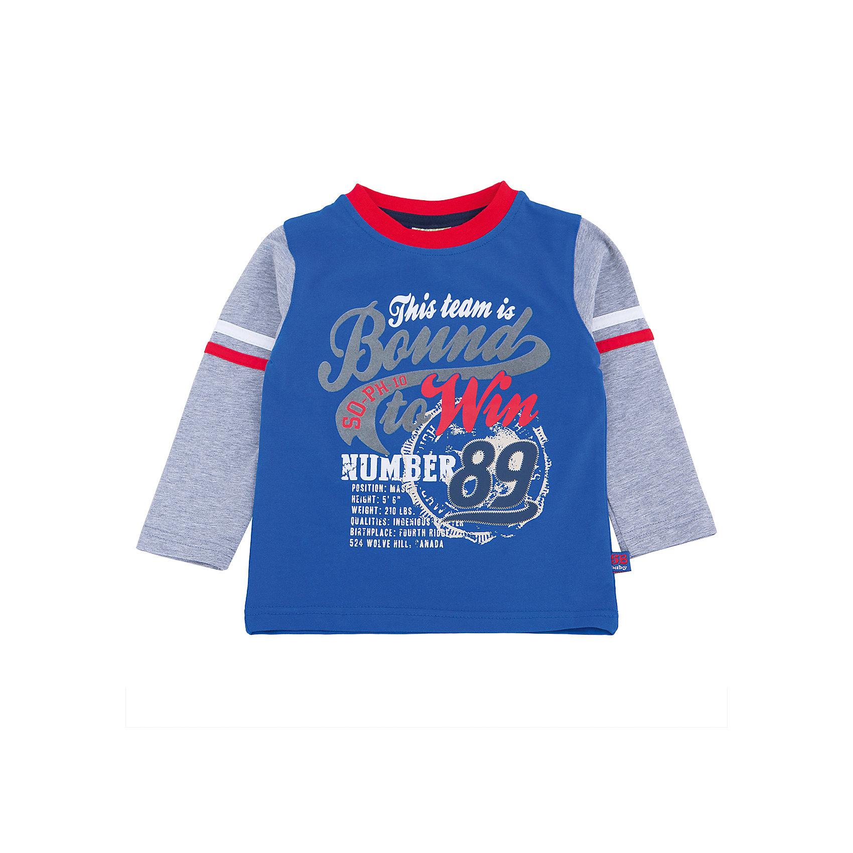 Футболка с длинным рукавом для мальчика Sweet BerryТакая футболка с длинным рукавом для мальчика отличается модным дизайном с ярким принтом. Удачный крой обеспечит ребенку комфорт и тепло. Горловина изделия обработана мягкой резинкой, поэтому вещь плотно прилегает к телу там, где нужно, и отлично сидит по фигуре.<br>Одежда от бренда Sweet Berry - это простой и выгодный способ одеть ребенка удобно и стильно. Всё изделия тщательно проработаны: швы - прочные, материал - качественный, фурнитура - подобранная специально для детей. <br><br>Дополнительная информация:<br><br>цвет: синий;<br>материал: 95% хлопок, 5% эластан;<br>декорирована принтом.<br><br>Футболку с длинным рукавом для мальчика от бренда Sweet Berry можно купить в нашем интернет-магазине.<br><br>Ширина мм: 230<br>Глубина мм: 40<br>Высота мм: 220<br>Вес г: 250<br>Цвет: синий<br>Возраст от месяцев: 12<br>Возраст до месяцев: 15<br>Пол: Мужской<br>Возраст: Детский<br>Размер: 80,98,86,92<br>SKU: 4929952