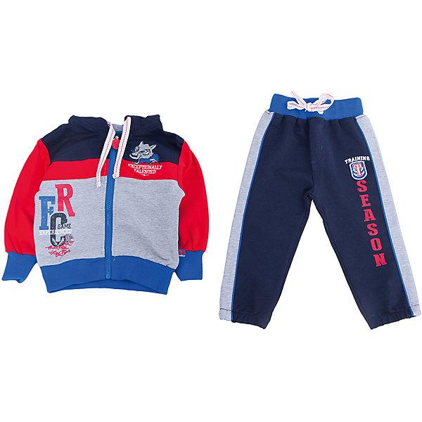 Спортивный костюм для мальчика Sweet BerryКомплекты<br>Спортивный костюм для мальчиков. Толстовка комбинирована из разных цветов. Украшена шевроном и принтом. Брюки на поясе с трикотажной резинкой, регулир<br>Состав:<br>95% хлопок 5% эластан<br>Ширина мм: 247; Глубина мм: 16; Высота мм: 140; Вес г: 225; Цвет: синий/красный; Возраст от месяцев: 12; Возраст до месяцев: 15; Пол: Мужской; Возраст: Детский; Размер: 80,98,86,92; SKU: 4929962;