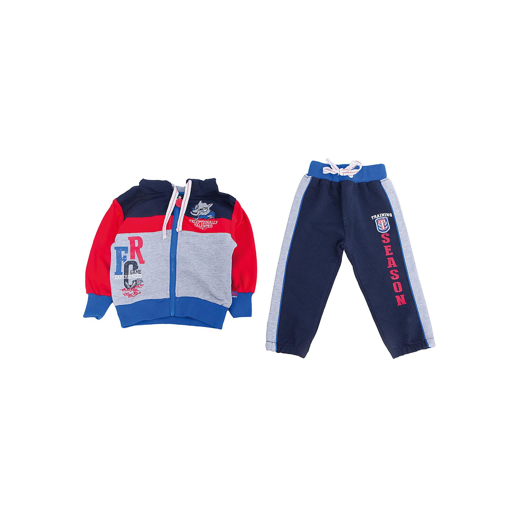 Спортивный костюм для мальчика Sweet BerryКофточки и распашонки<br>Спортивный костюм для мальчиков. Толстовка комбинирована из разных цветов. Украшена шевроном и принтом. Брюки на поясе с трикотажной резинкой, регулир<br>Состав:<br>95% хлопок 5% эластан<br><br>Ширина мм: 247<br>Глубина мм: 16<br>Высота мм: 140<br>Вес г: 225<br>Цвет: красный/синий<br>Возраст от месяцев: 24<br>Возраст до месяцев: 36<br>Пол: Мужской<br>Возраст: Детский<br>Размер: 80,86,92,98<br>SKU: 4929962