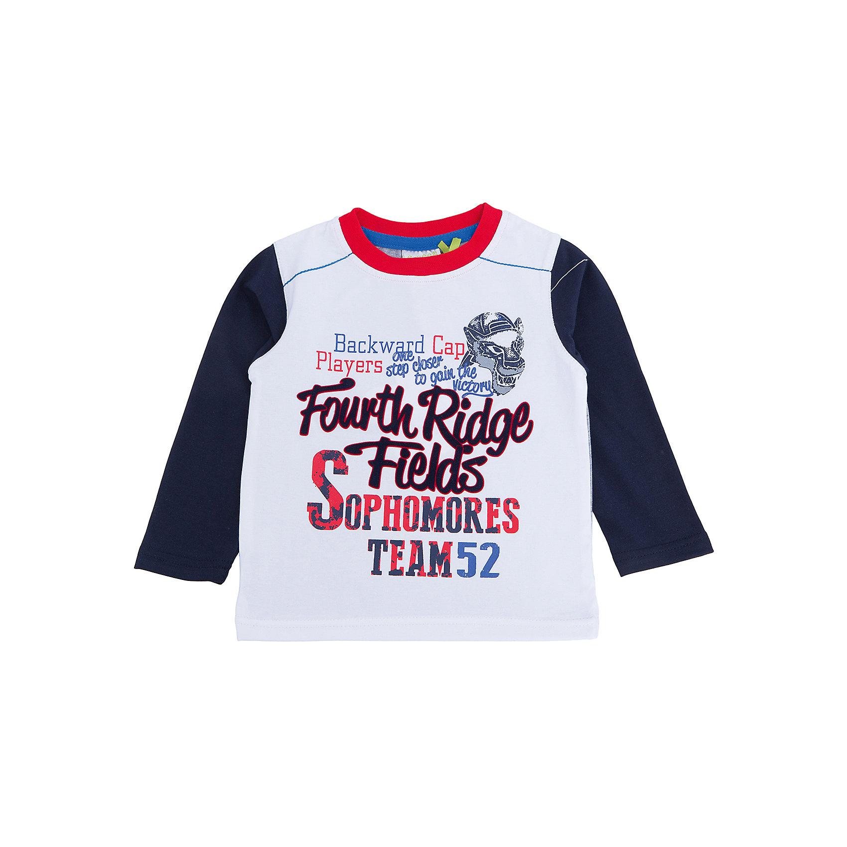 Футболка с длинным рукавом для мальчика Sweet BerryТакая футболка с длинным рукавом для мальчика отличается модным дизайном с ярким принтом. Удачный крой обеспечит ребенку комфорт и тепло. Горловина изделия обработана мягкой резинкой, поэтому вещь плотно прилегает к телу там, где нужно, и отлично сидит по фигуре.<br>Одежда от бренда Sweet Berry - это простой и выгодный способ одеть ребенка удобно и стильно. Всё изделия тщательно проработаны: швы - прочные, материал - качественный, фурнитура - подобранная специально для детей. <br><br>Дополнительная информация:<br><br>цвет: белый;<br>материал: 95% хлопок, 5% эластан;<br>декорирована принтом.<br><br>Футболку с длинным рукавом для мальчика от бренда Sweet Berry можно купить в нашем интернет-магазине.<br><br>Ширина мм: 230<br>Глубина мм: 40<br>Высота мм: 220<br>Вес г: 250<br>Цвет: белый<br>Возраст от месяцев: 12<br>Возраст до месяцев: 15<br>Пол: Мужской<br>Возраст: Детский<br>Размер: 80,98,92,86<br>SKU: 4929972