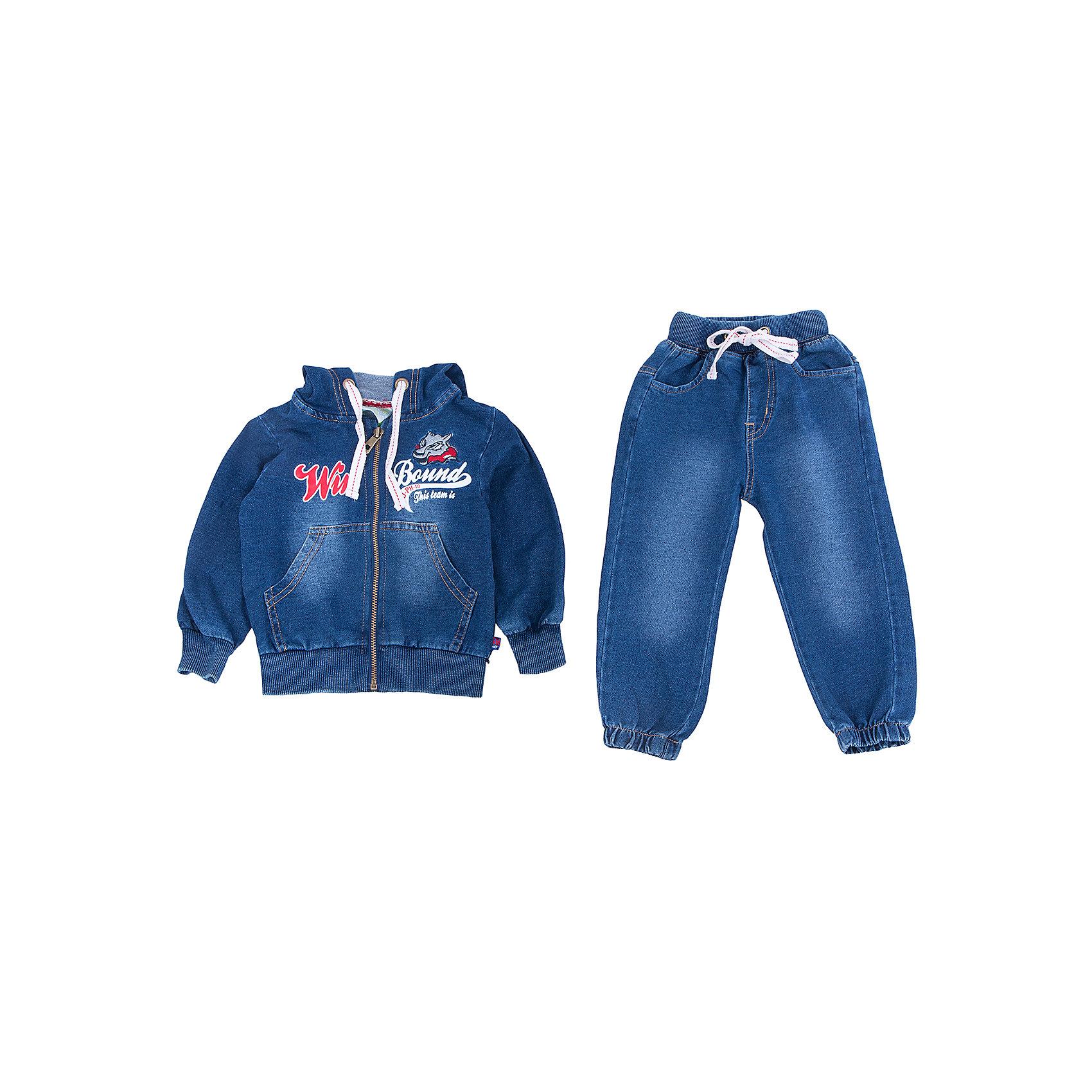 Спортивный костюм для мальчика Sweet BerryКомплекты<br>Эта модель спортивного костюма для мальчика отличается модным дизайном. Удачный крой обеспечит ребенку комфорт и тепло. Плотный материал делает вещь идеальной для прохладной погоды. Она плотно прилегает к телу там, где нужно, и отлично сидит по фигуре. Декорирована модель стильными нашивками. Штаны - с мягкой резинкой на поясе и затягивающимся шнурком. Ткань - футер с расцветкой под джинс.<br>Одежда от бренда Sweet Berry - это простой и выгодный способ одеть ребенка удобно и стильно. Всё изделия тщательно проработаны: швы - прочные, материал - качественный, фурнитура - подобранная специально для детей. <br><br>Дополнительная информация:<br><br>цвет: синий;<br>капюшон;<br>материал: 95% хлопок, 5% эластан (футер);<br>застежка: молния;<br>в брюках - резинка и шнурок.<br><br>Спортивный костюм для мальчика от бренда Sweet Berry можно купить в нашем интернет-магазине.<br><br>Ширина мм: 247<br>Глубина мм: 16<br>Высота мм: 140<br>Вес г: 225<br>Цвет: синий<br>Возраст от месяцев: 24<br>Возраст до месяцев: 36<br>Пол: Мужской<br>Возраст: Детский<br>Размер: 98,80,86,92<br>SKU: 4929987