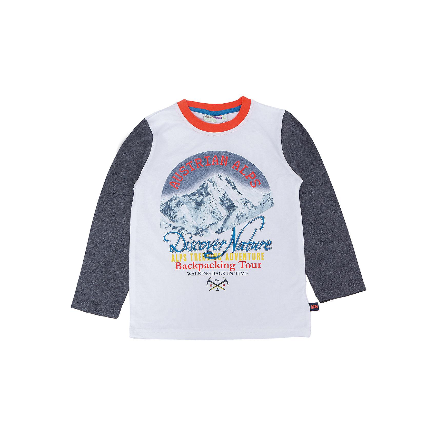 Футболка с длинным рукавом для мальчика Sweet BerryТакая футболка с длинным рукавом для мальчика отличается модным дизайном с ярким принтом. Удачный крой обеспечит ребенку комфорт и тепло. Горловина изделия обработана мягкой резинкой, поэтому вещь плотно прилегает к телу там, где нужно, и отлично сидит по фигуре.<br>Одежда от бренда Sweet Berry - это простой и выгодный способ одеть ребенка удобно и стильно. Всё изделия тщательно проработаны: швы - прочные, материал - качественный, фурнитура - подобранная специально для детей. <br><br>Дополнительная информация:<br><br>цвет: белый;<br>материал: 95% хлопок, 5% эластан;<br>декорирована принтом.<br><br>Футболку с длинным рукавом для мальчика от бренда Sweet Berry можно купить в нашем интернет-магазине.<br><br>Ширина мм: 230<br>Глубина мм: 40<br>Высота мм: 220<br>Вес г: 250<br>Цвет: белый<br>Возраст от месяцев: 24<br>Возраст до месяцев: 36<br>Пол: Мужской<br>Возраст: Детский<br>Размер: 98,104,110,116,122,128<br>SKU: 4930529