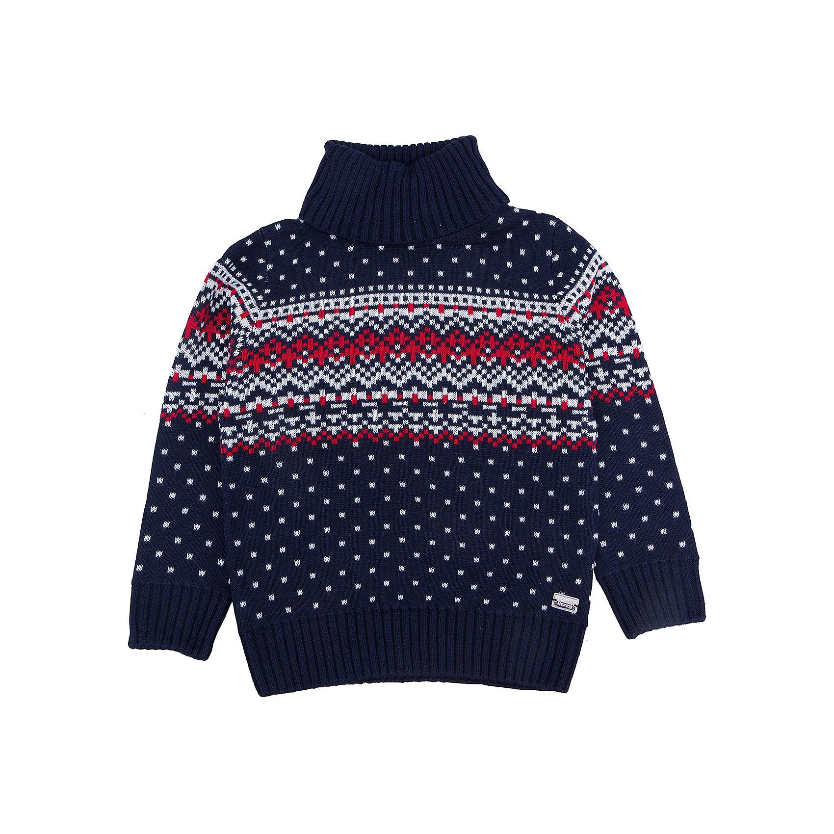 Свитер для мальчика Sweet BerryЭта модель свитера для мальчика отличается модным дизайном с оригинальным узором. Удачный крой обеспечит ребенку комфорт и тепло. Края изделия обработаны мягкой резинкой , горло - высокое, поэтому вещь плотно прилегает к телу там, где нужно, и отлично сидит по фигуре. Натуральный хлопок в составе пряжи обеспечит коже возможность дышать и не вызовет аллергии.<br>Одежда от бренда Sweet Berry - это простой и выгодный способ одеть ребенка удобно и стильно. Всё изделия тщательно проработаны: швы - прочные, материал - качественный, фурнитура - подобранная специально для детей. <br><br>Дополнительная информация:<br><br>цвет: синий;<br>материал: 60% хлопок, 40% акрил;<br>высокое горло;<br>декорирован узором.<br><br>Свитер для мальчика от бренда Sweet Berry можно купить в нашем интернет-магазине.<br><br>Ширина мм: 190<br>Глубина мм: 74<br>Высота мм: 229<br>Вес г: 236<br>Цвет: синий<br>Возраст от месяцев: 24<br>Возраст до месяцев: 36<br>Пол: Мужской<br>Возраст: Детский<br>Размер: 98,104,128,122,116,110<br>SKU: 4930571