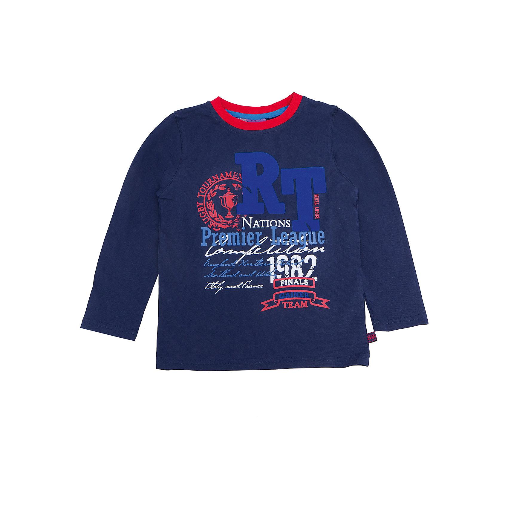 Футболка с длинным рукавом для мальчика Sweet BerryТакая футболка с длинным рукавом для мальчика отличается модным дизайном с ярким принтом. Удачный крой обеспечит ребенку комфорт и тепло. Горловина изделия обработана мягкой резинкой, поэтому вещь плотно прилегает к телу там, где нужно, и отлично сидит по фигуре.<br>Одежда от бренда Sweet Berry - это простой и выгодный способ одеть ребенка удобно и стильно. Всё изделия тщательно проработаны: швы - прочные, материал - качественный, фурнитура - подобранная специально для детей. <br><br>Дополнительная информация:<br><br>цвет: синий;<br>материал: 95% хлопок, 5% эластан;<br>декорирована принтом.<br><br>Футболку с длинным рукавом для мальчика от бренда Sweet Berry можно купить в нашем интернет-магазине.<br><br>Ширина мм: 230<br>Глубина мм: 40<br>Высота мм: 220<br>Вес г: 250<br>Цвет: синий<br>Возраст от месяцев: 36<br>Возраст до месяцев: 48<br>Пол: Мужской<br>Возраст: Детский<br>Размер: 104,98,128,122,116,110<br>SKU: 4930599